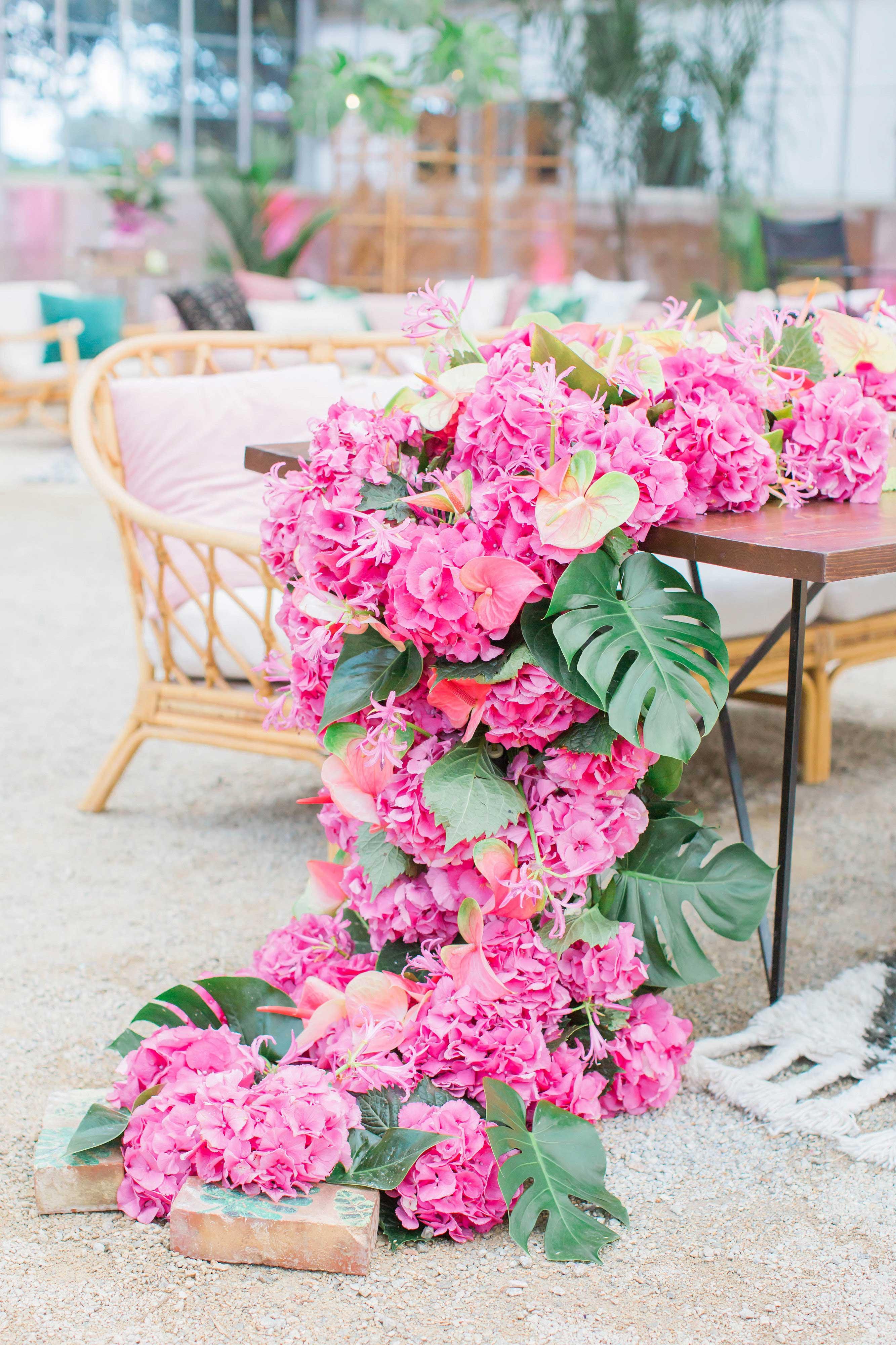 pink floral cascading centerpiece