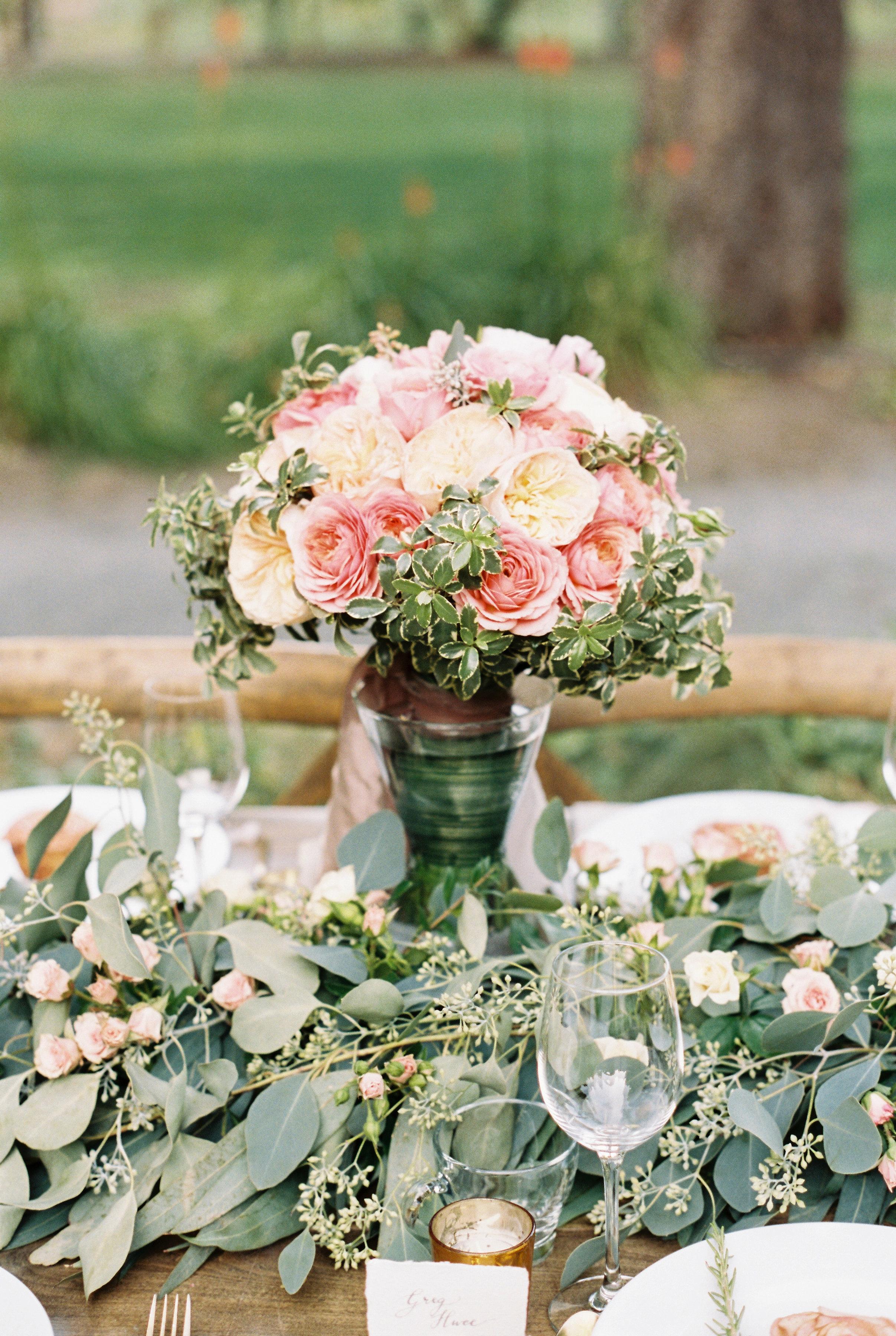 pink white flowers centerpiece