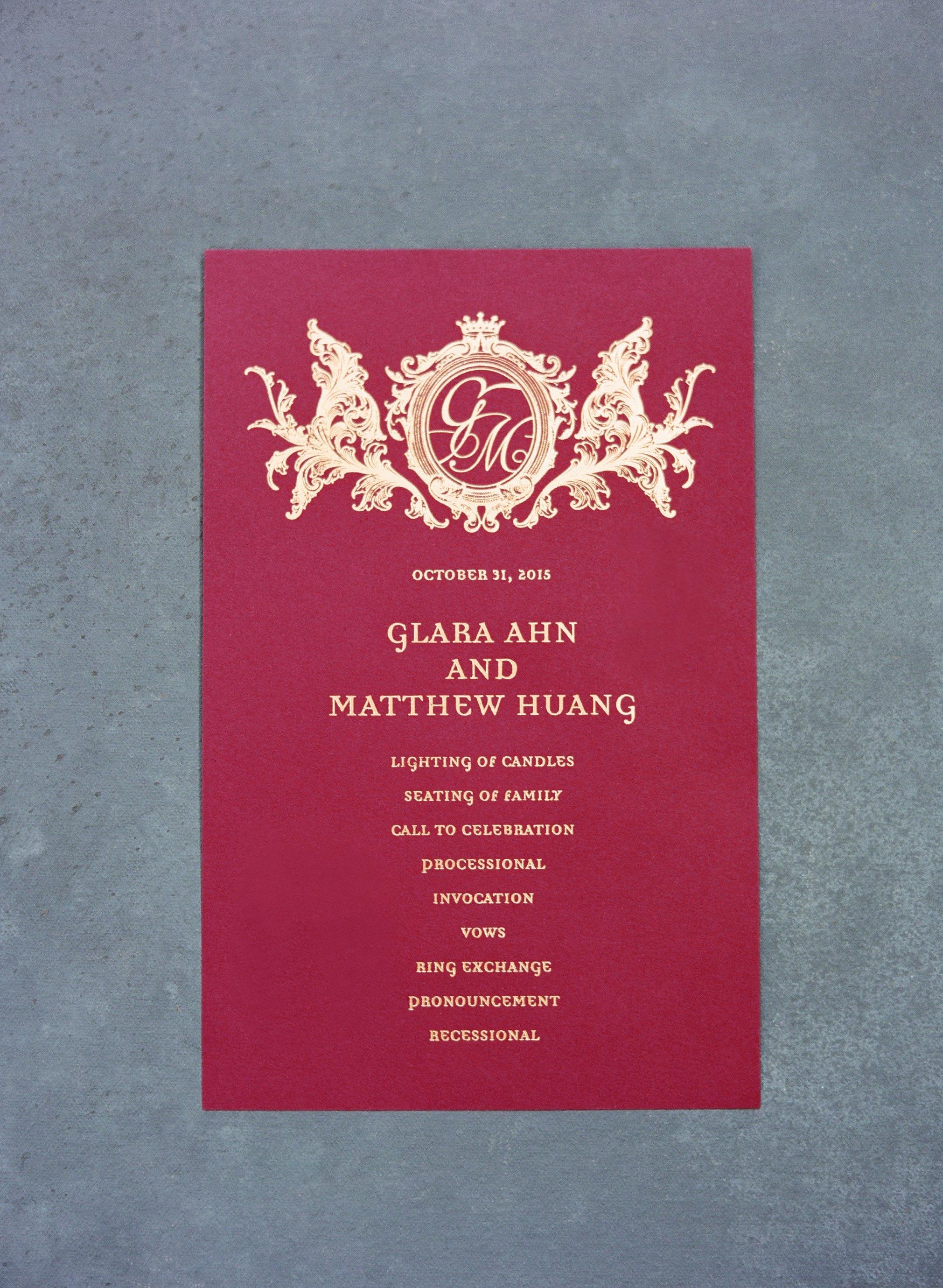 glara matthew wedding program