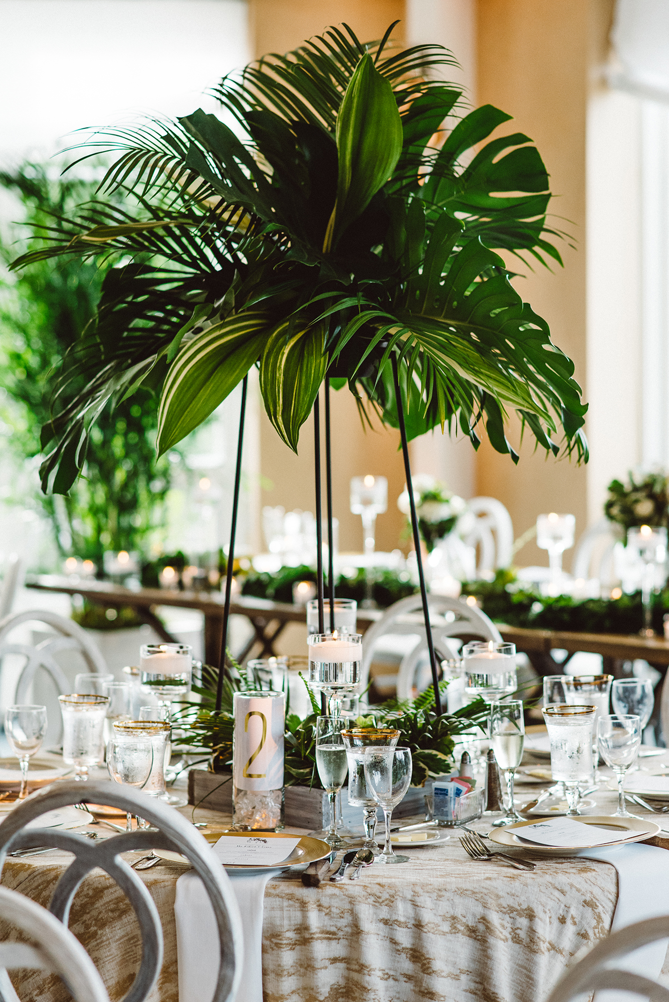 tropical modern wedding centerpiece