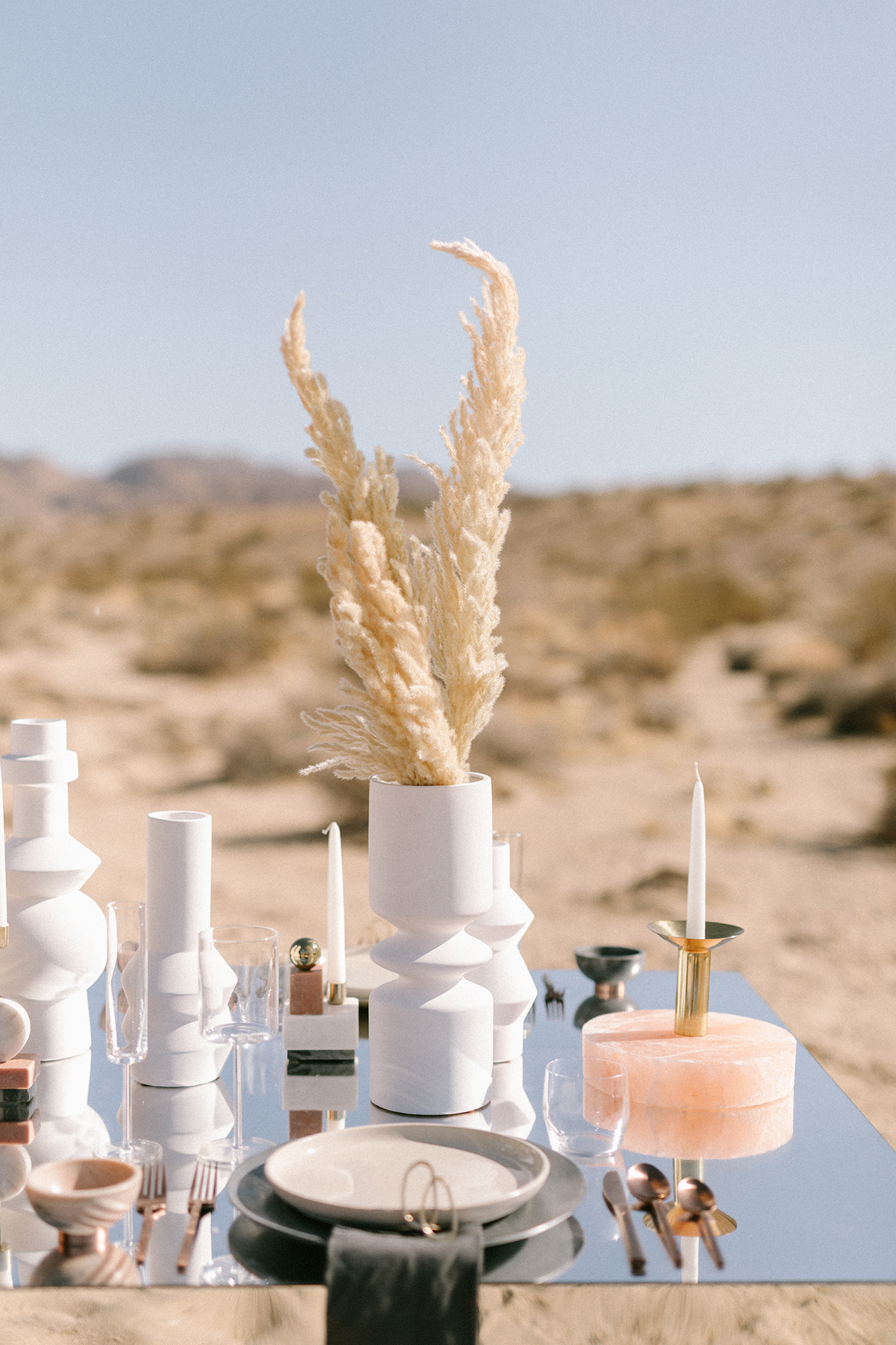 pampas grass modern wedding centerpiece