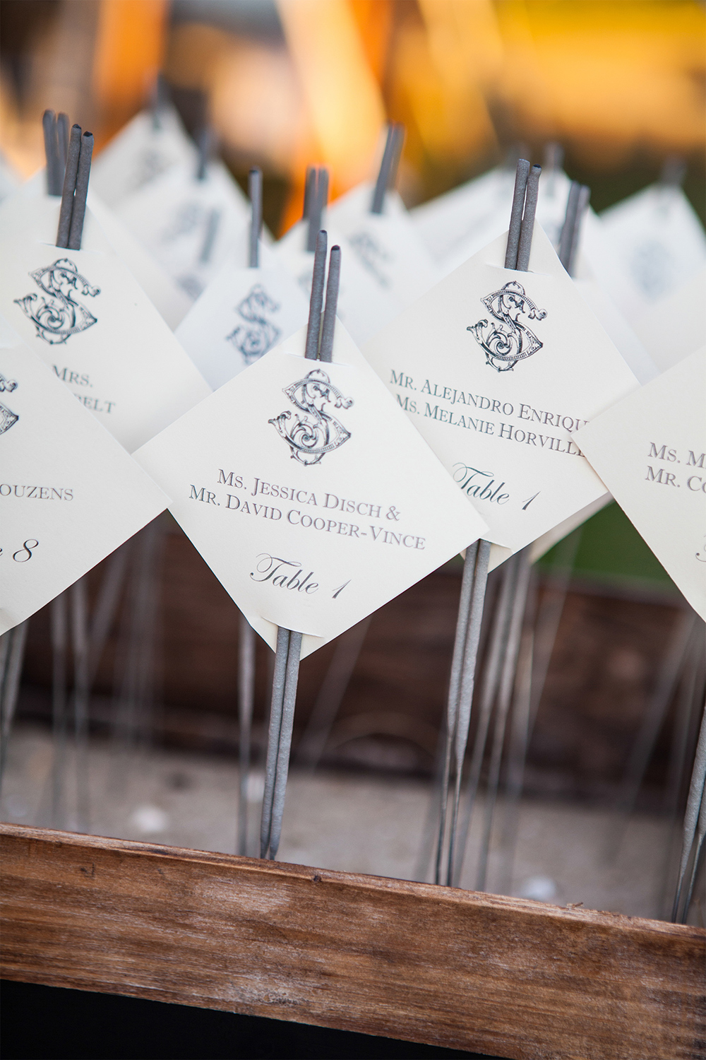 Silver Seating Cards