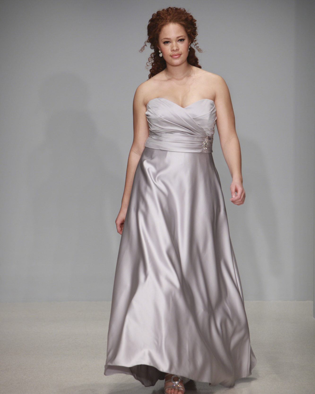 Floor-Length Gray Bridesmaid Dress