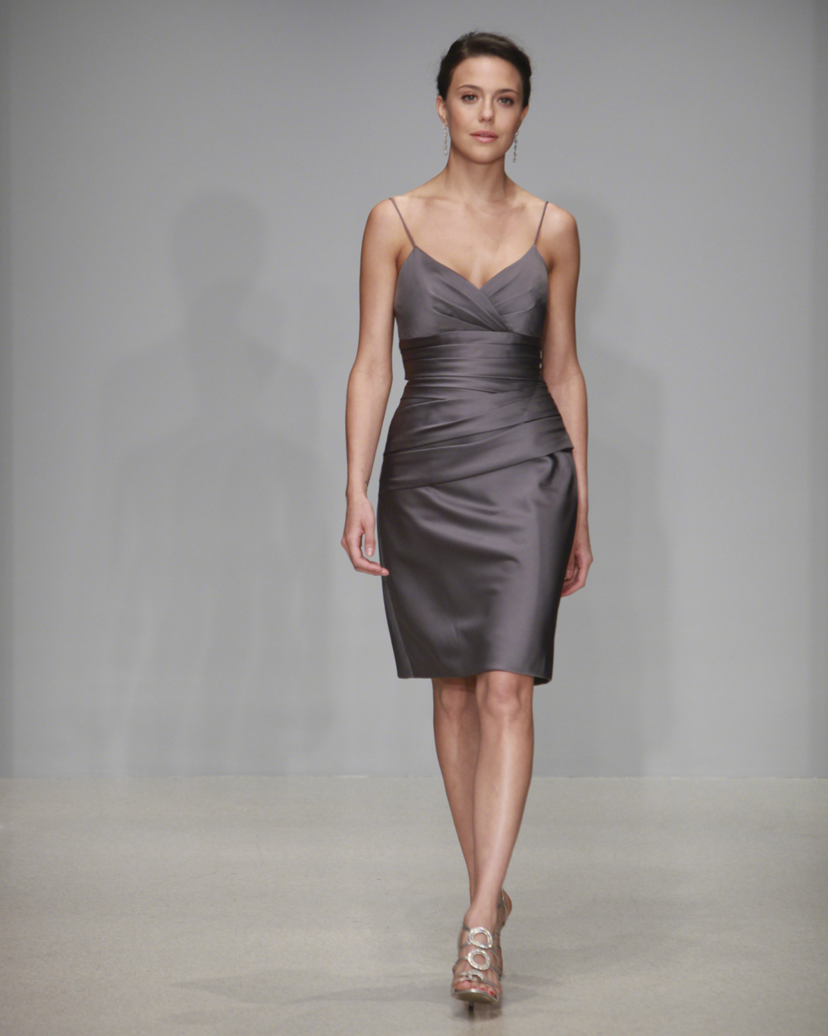 Short Charcoal Bridesmaid Dress