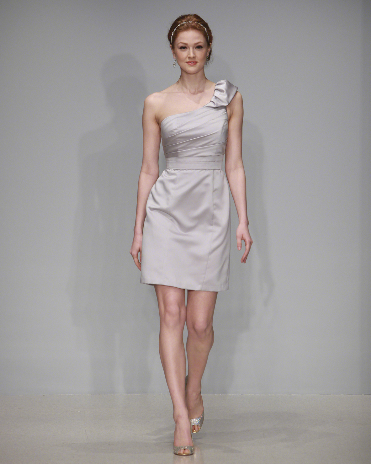 Short Gray One Shoulder Bridesmaid Dress