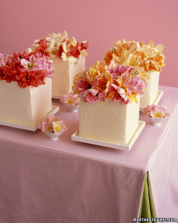 Small Cakes Decorated with Parrot Tulips
