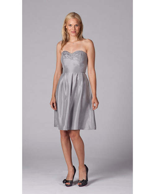 Short Pewter Bridesmaid Dress