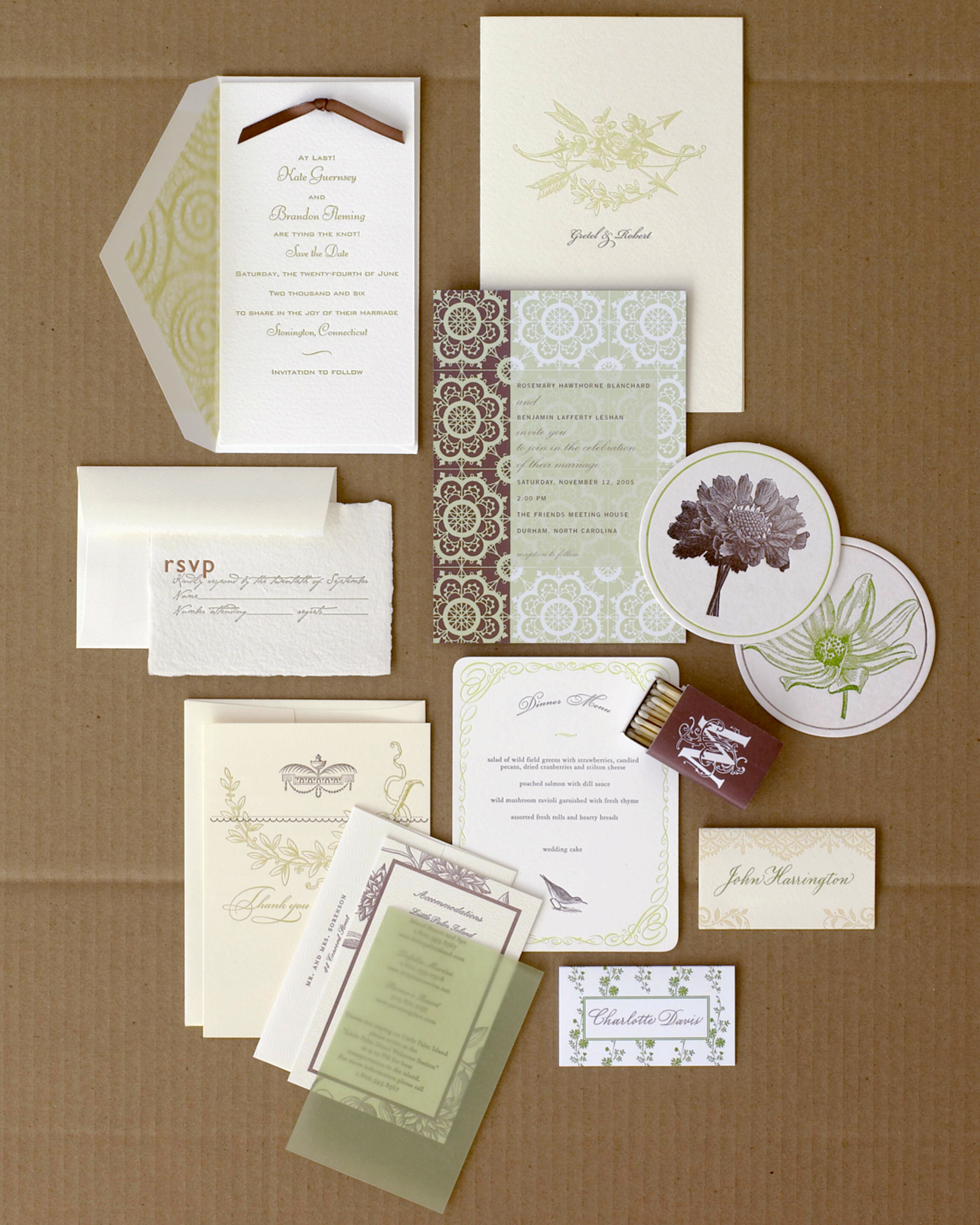 Elegant Green and Brown Stationery