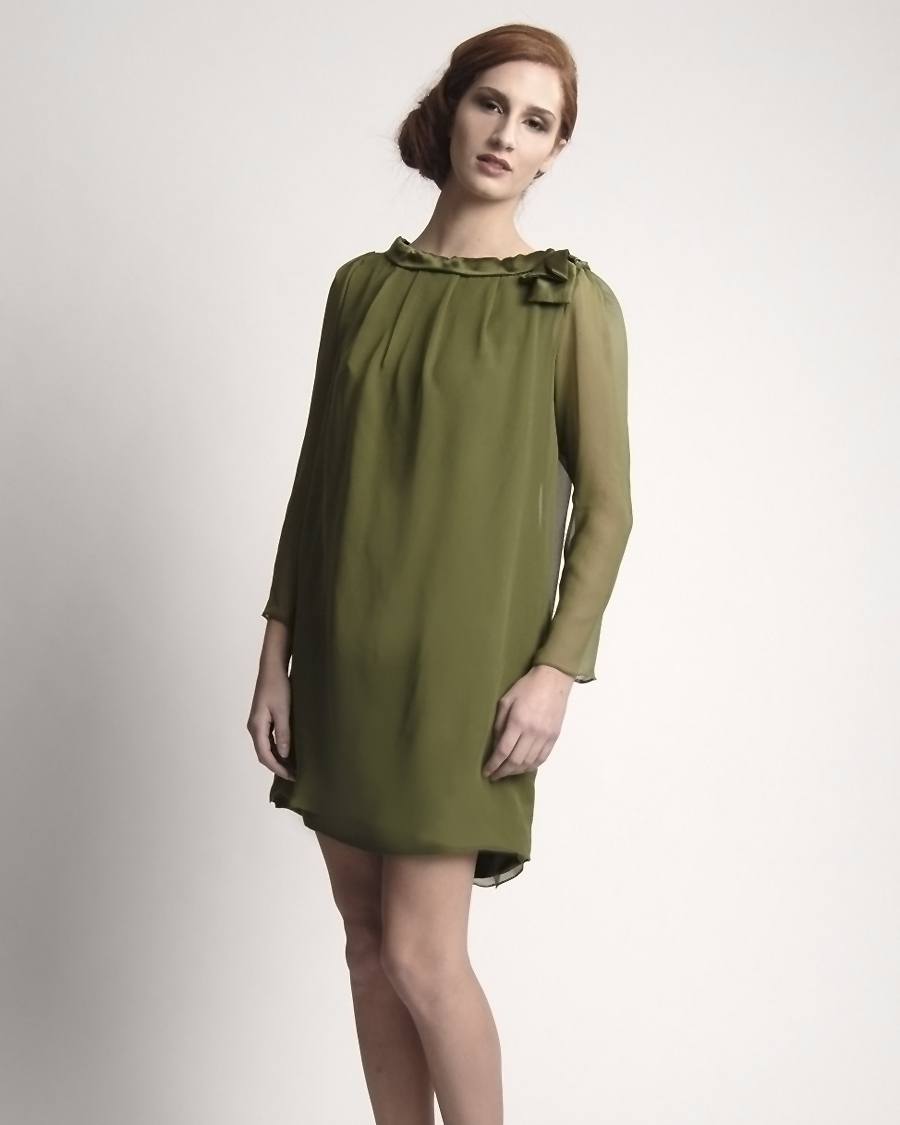 Long-Sleeve Green Bridesmaid Dress