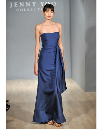 Long Blue Strapless Dress