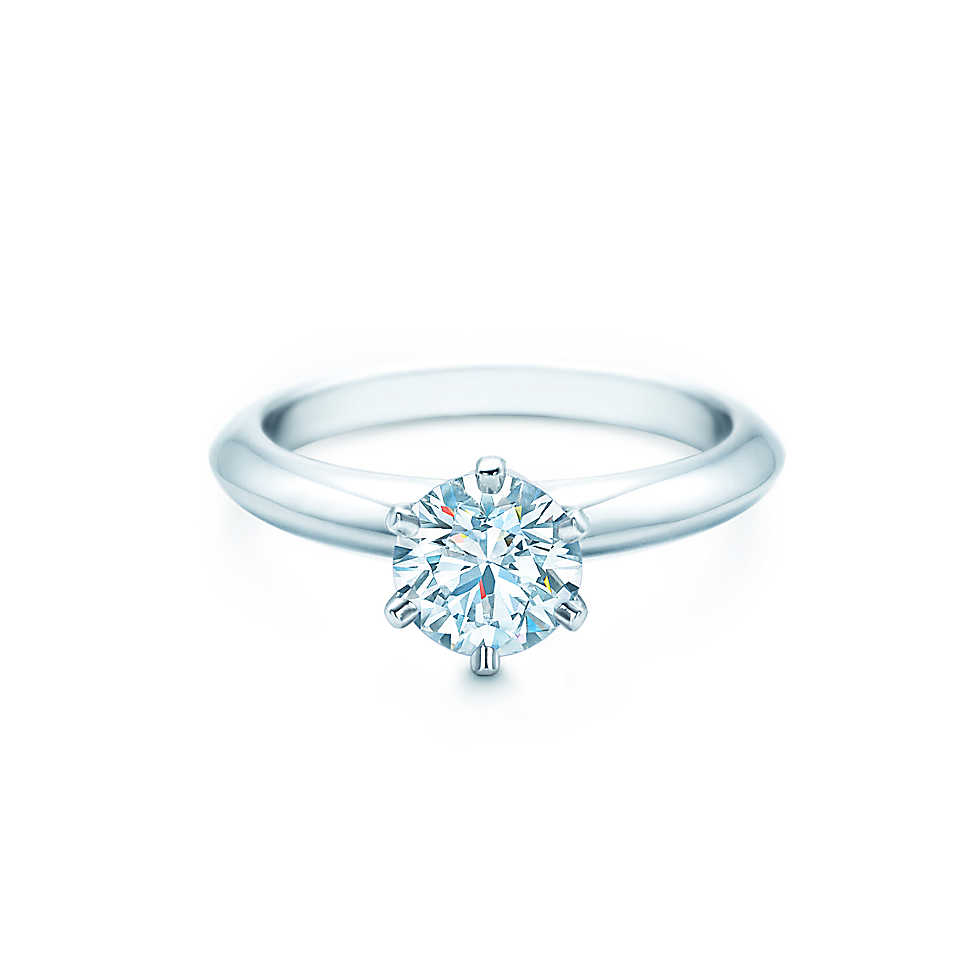 round cut ring platinum band with six prong setting