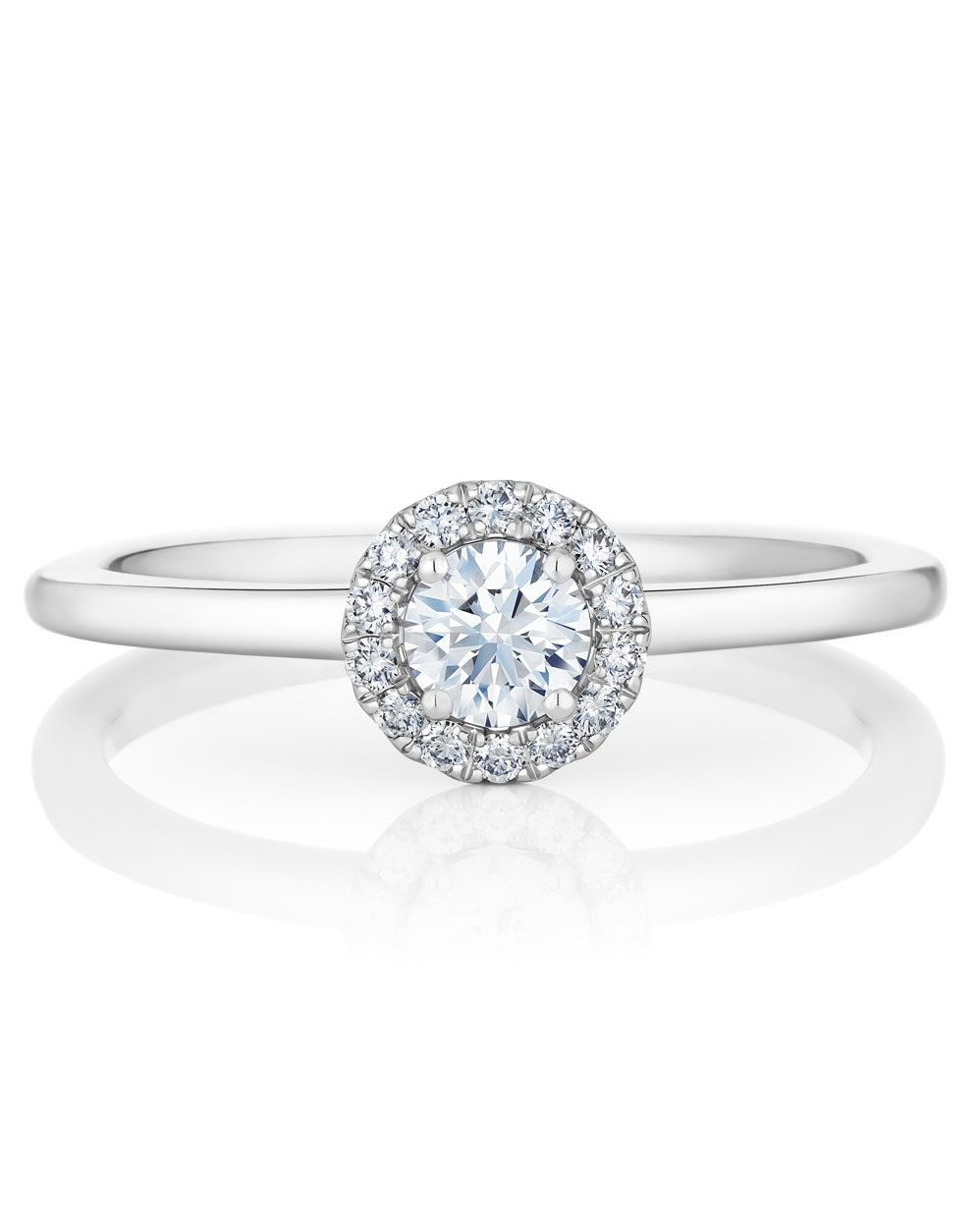 round cut ring platinum halo band