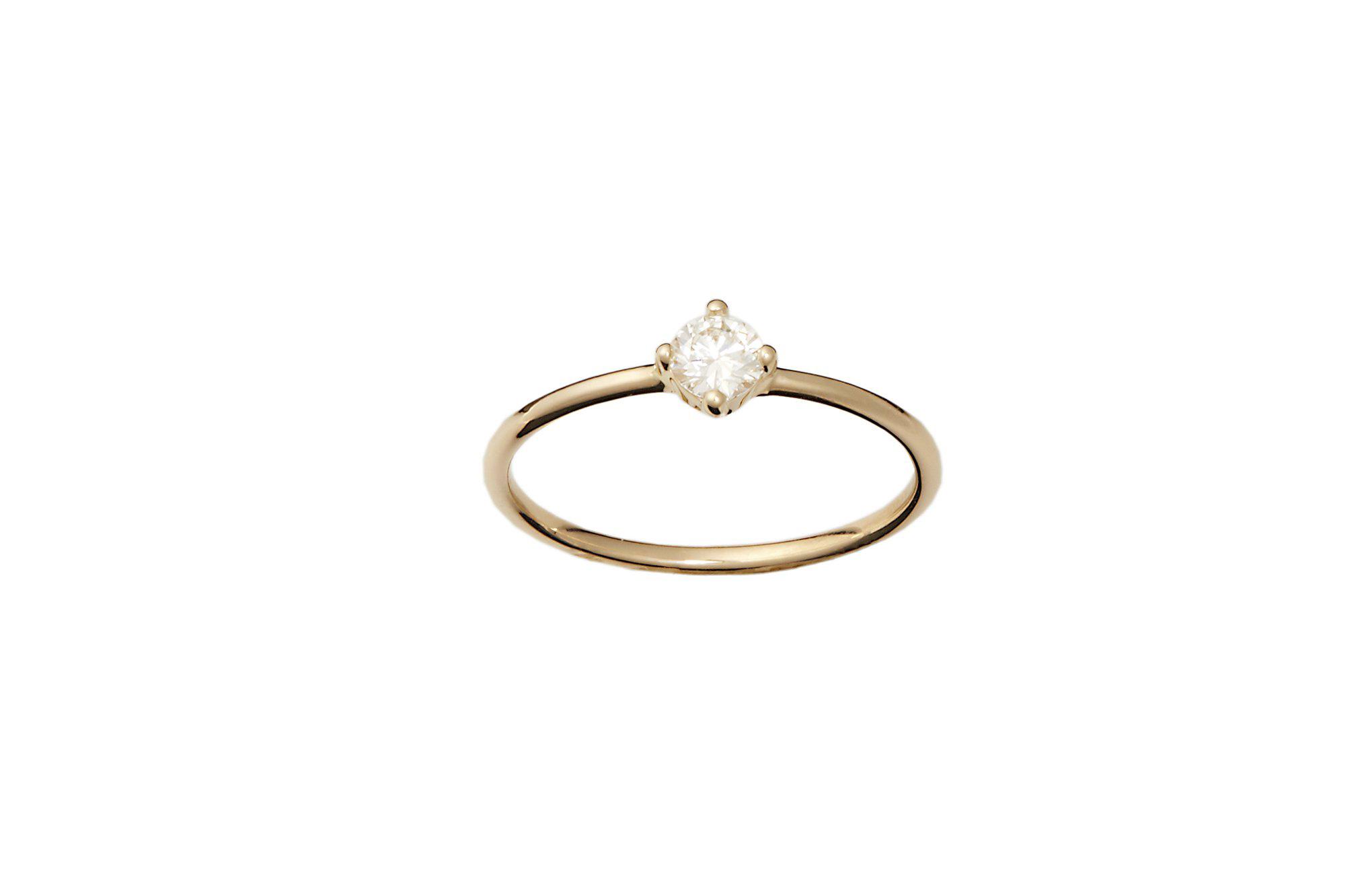 round cut ring thin round yellow gold band