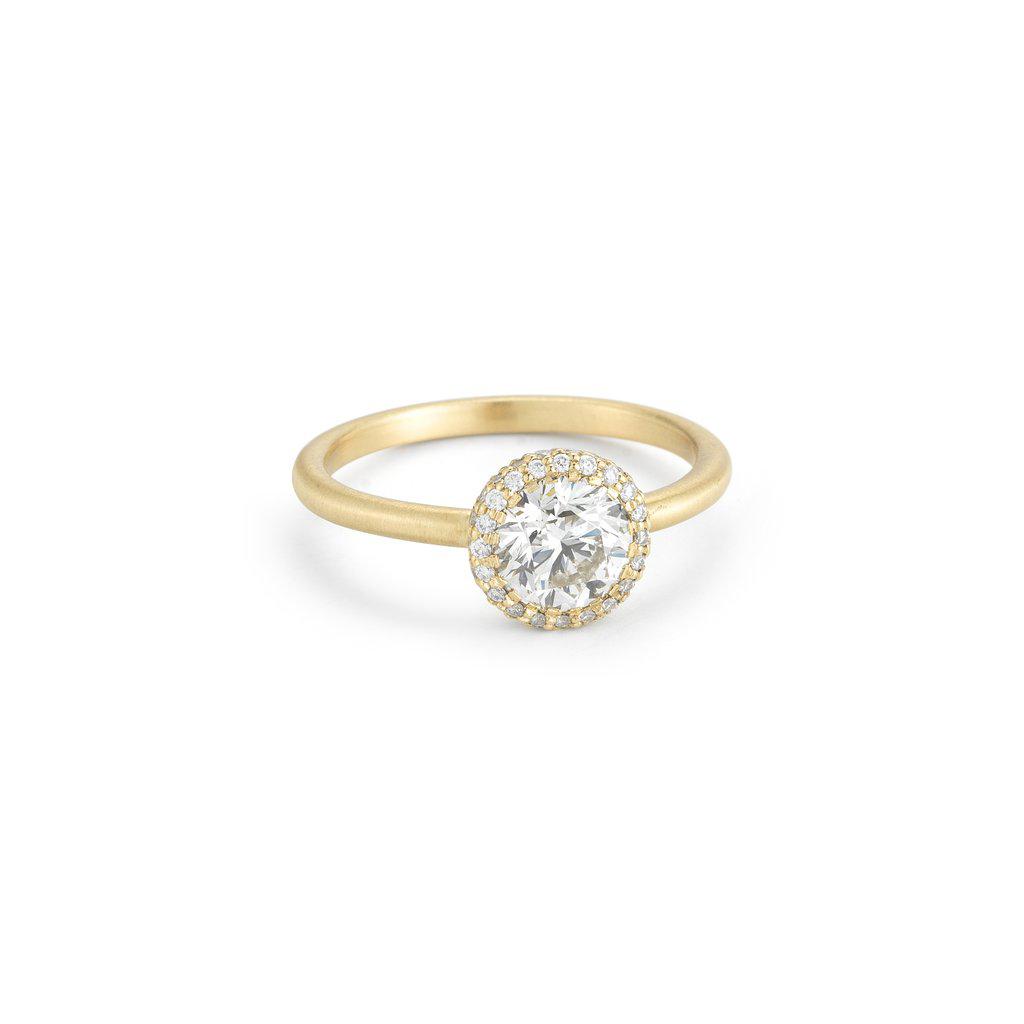 round cut ring matte white gold band