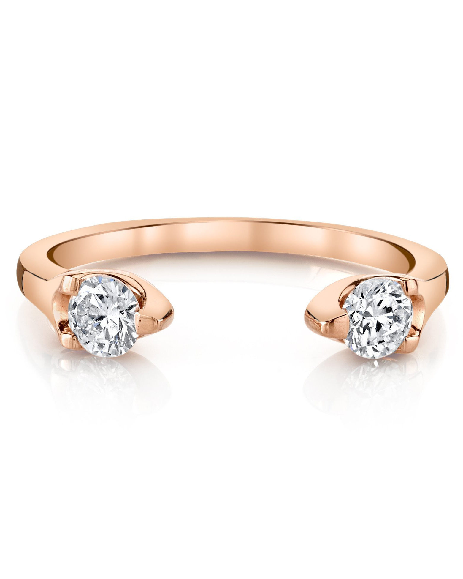 round cut ring double diamond gold open band