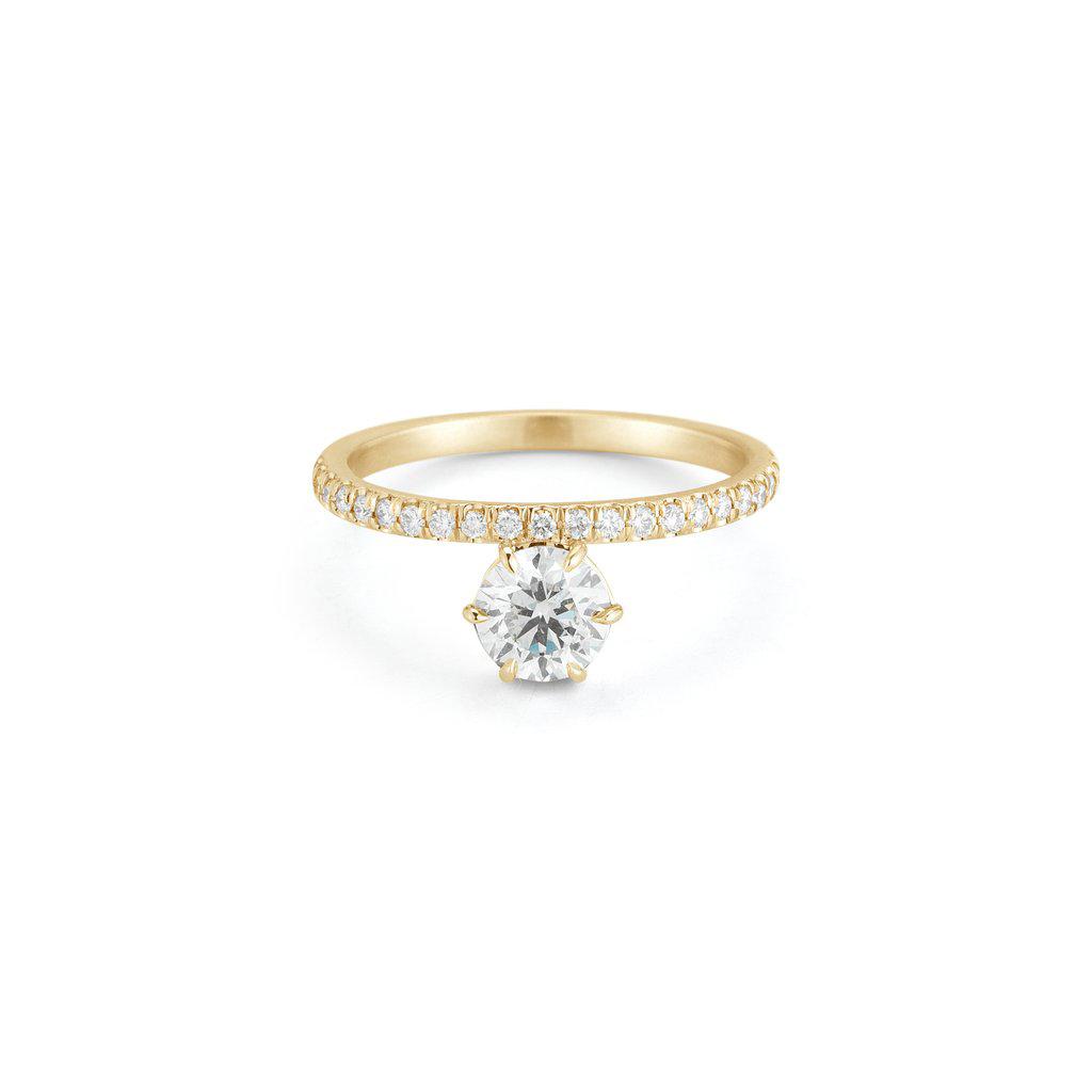 round cut ring yellow gold and diamond set band