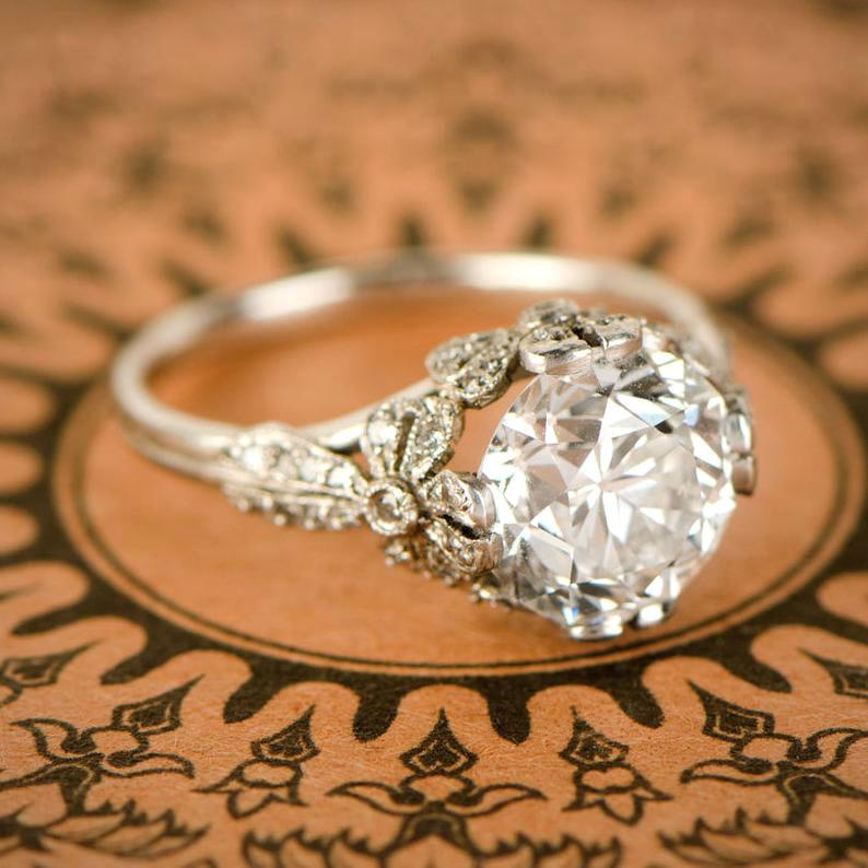 round cut ring vintage edwardian style
