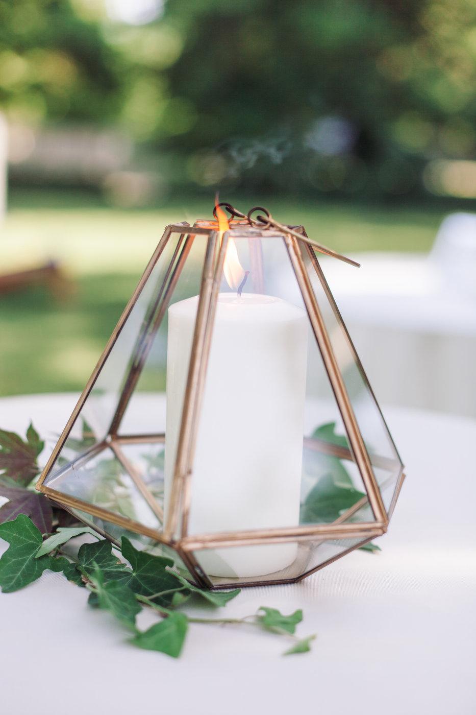 non-floral wedding centerpieces geometric lantern