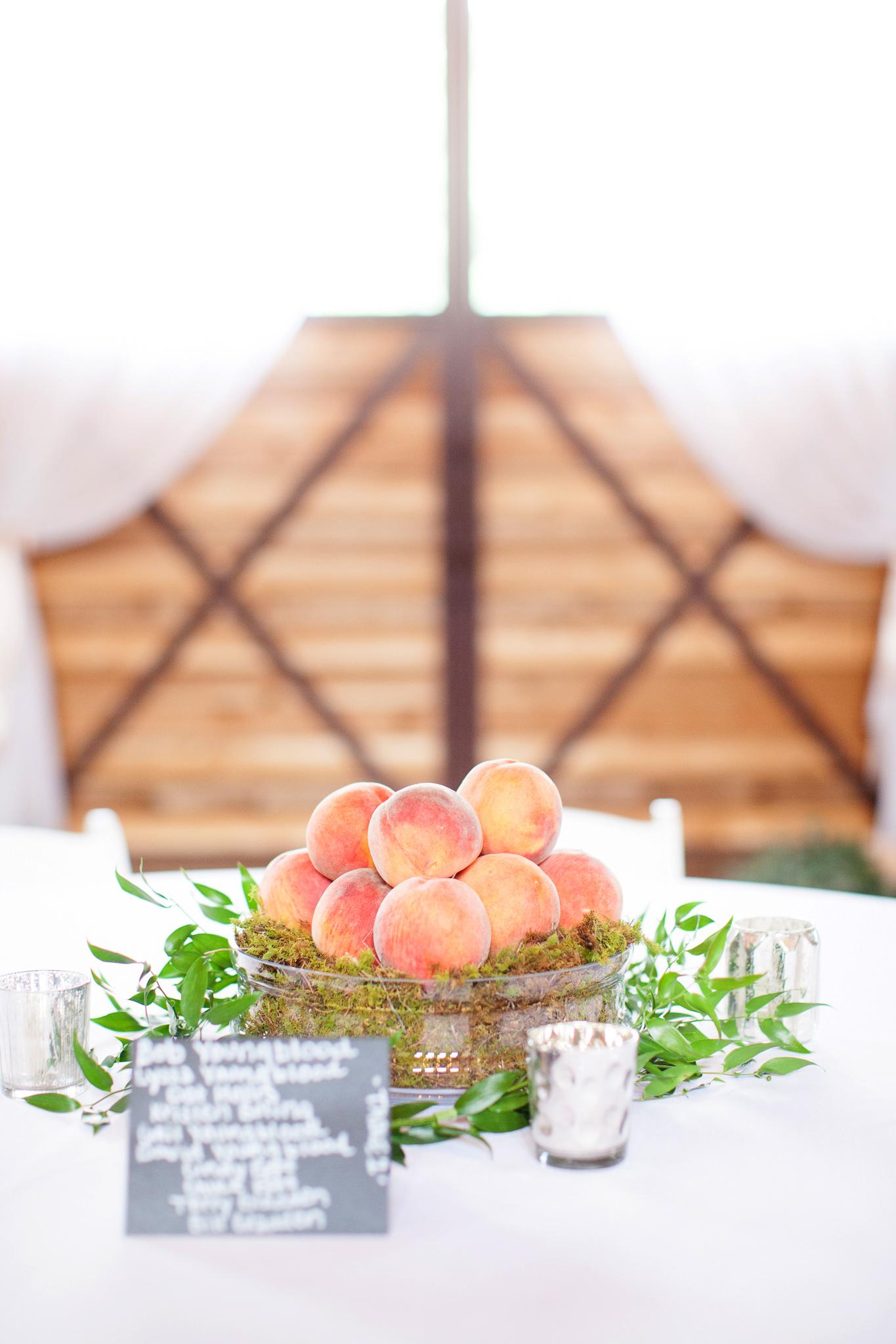non-floral wedding centerpieces bowl of peaches