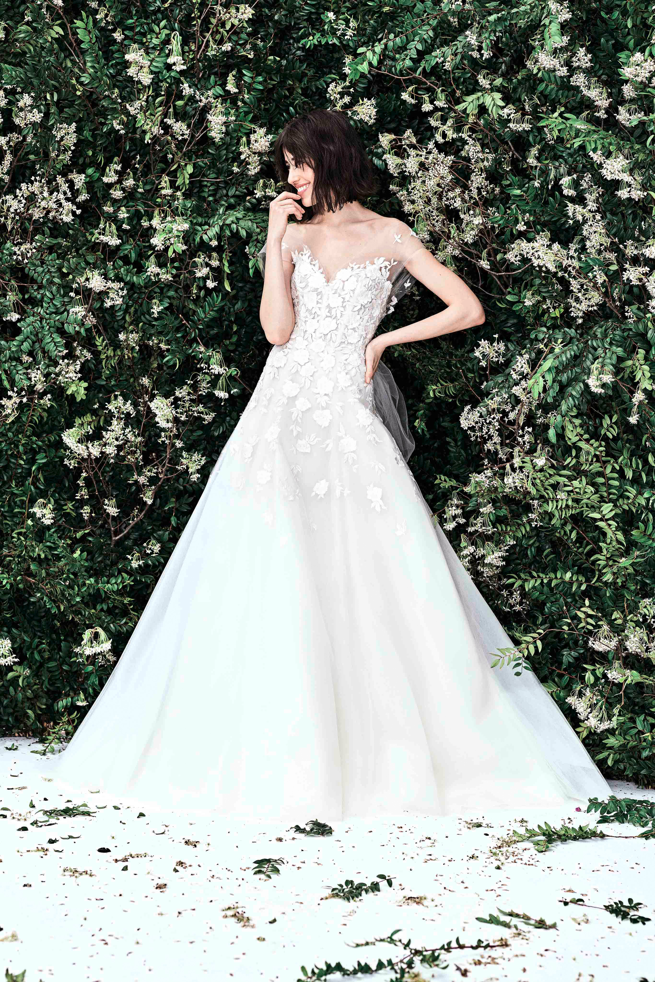 carolina herrera illusion a line floral applique wedding dress spring 2020