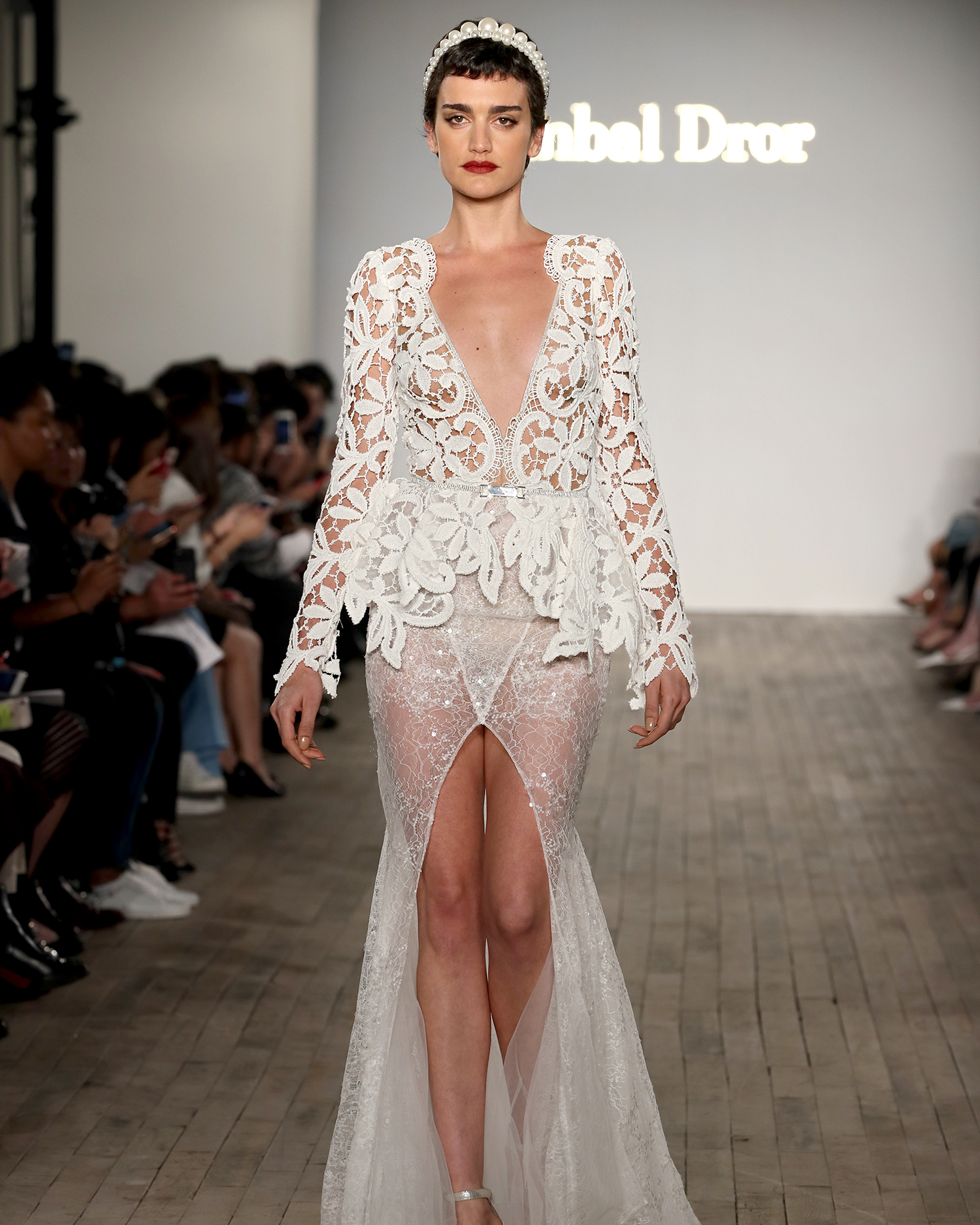 inbal dror wedding dress v-neck long lace sleeves high slit