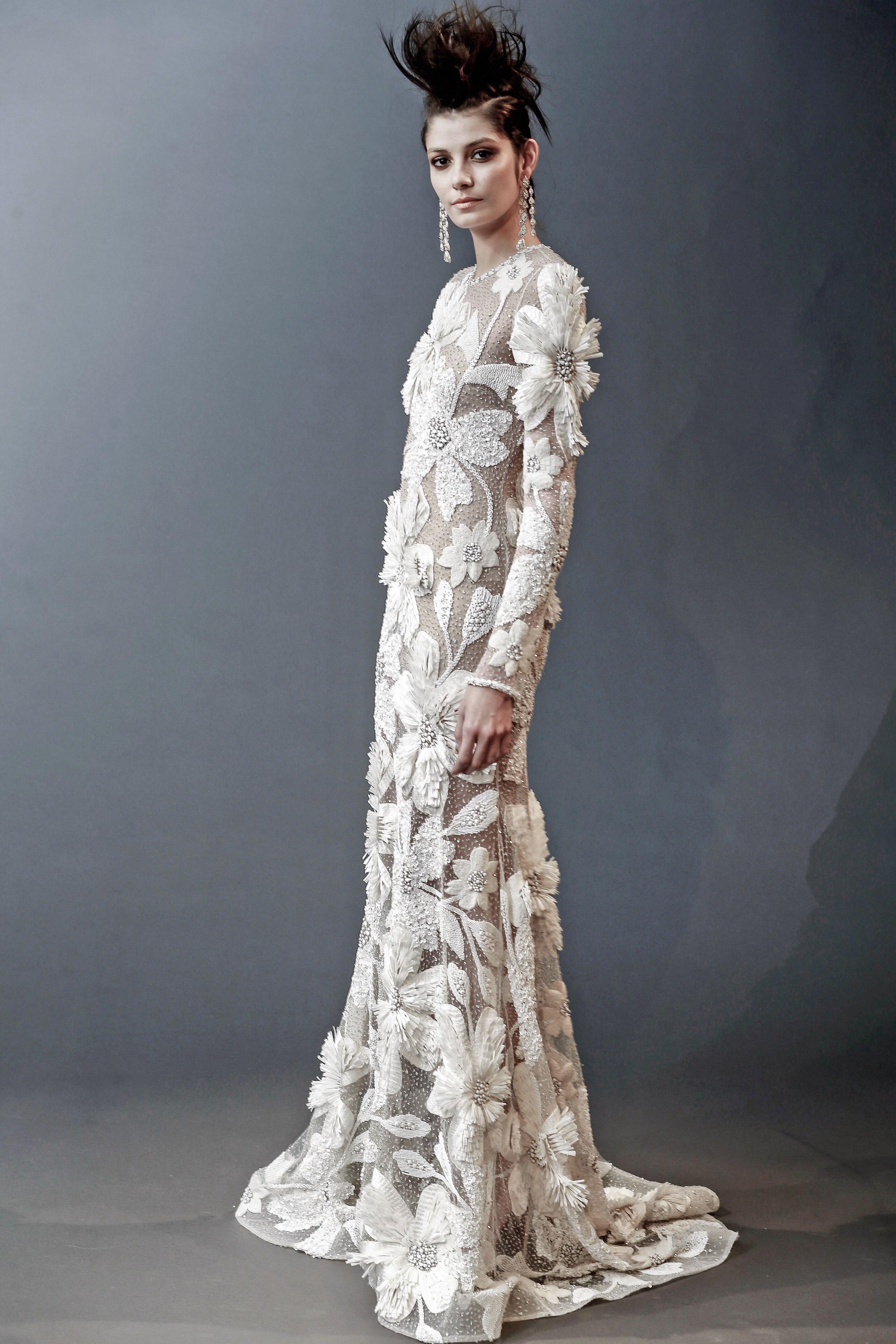 naeem khan floral sheath wedding dress spring 2019