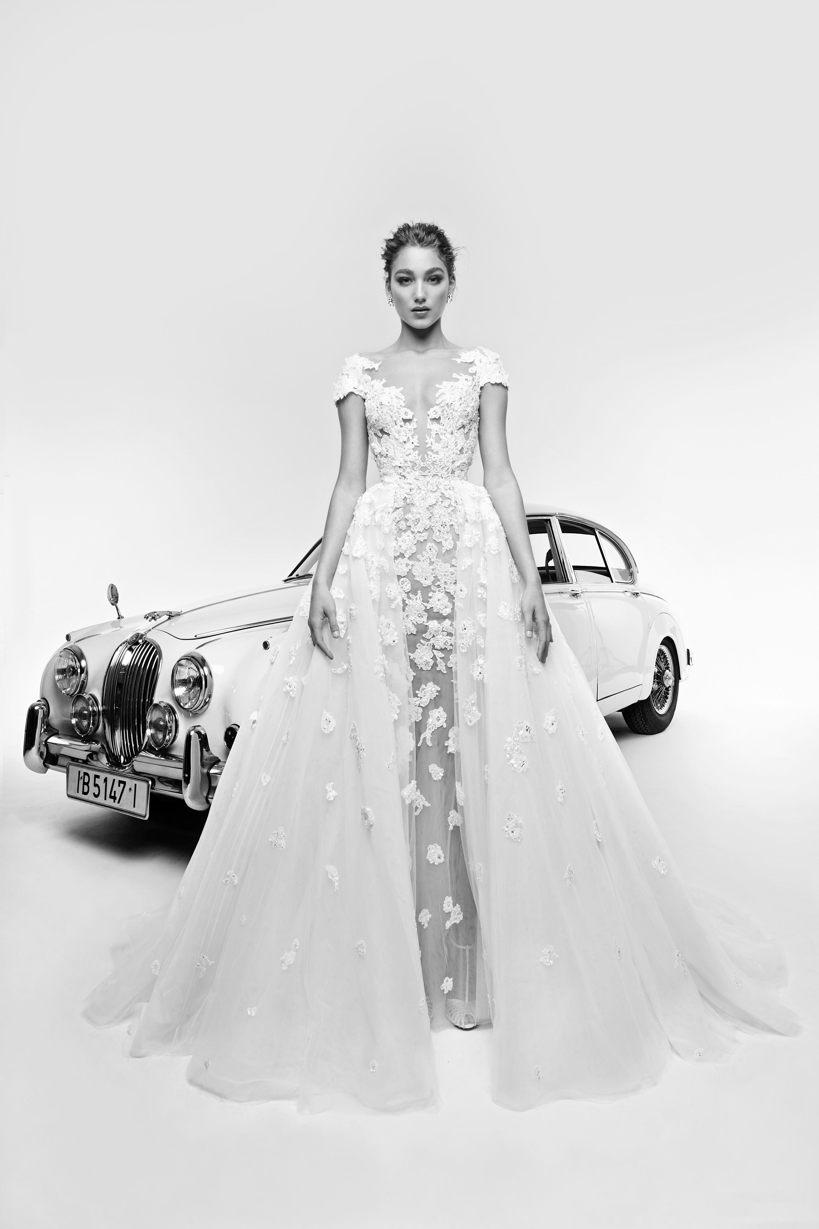 zuhair murad wedding dress spring 2019 cap sleeve v-neck