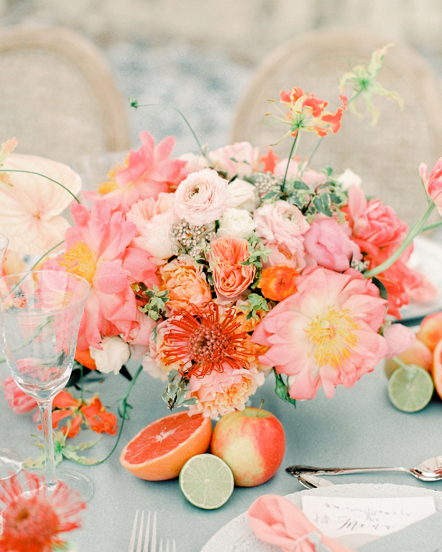 pink and orange floral arrangement
