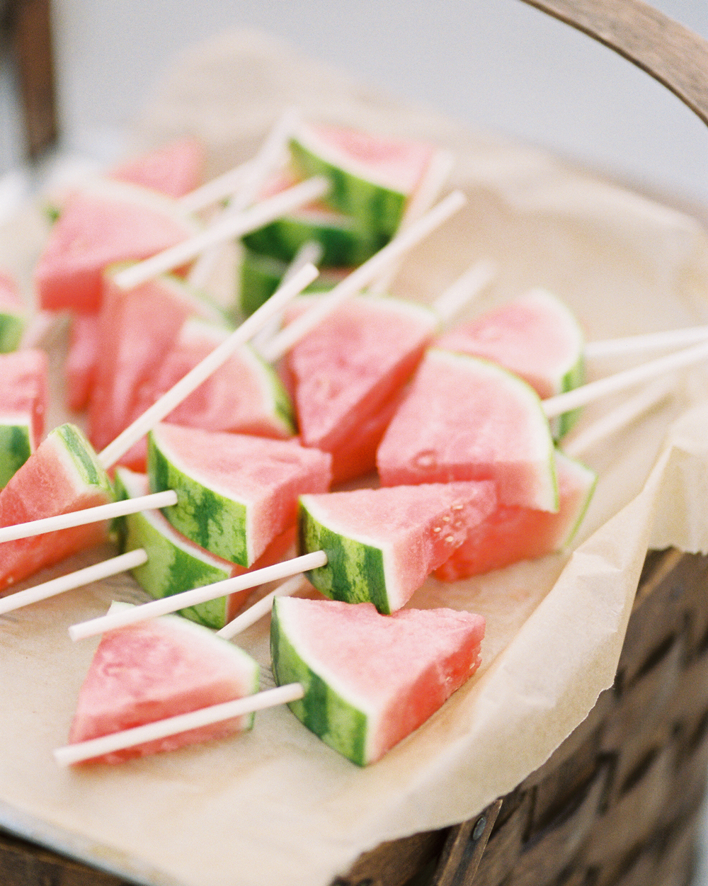watermelon wedges on skewers