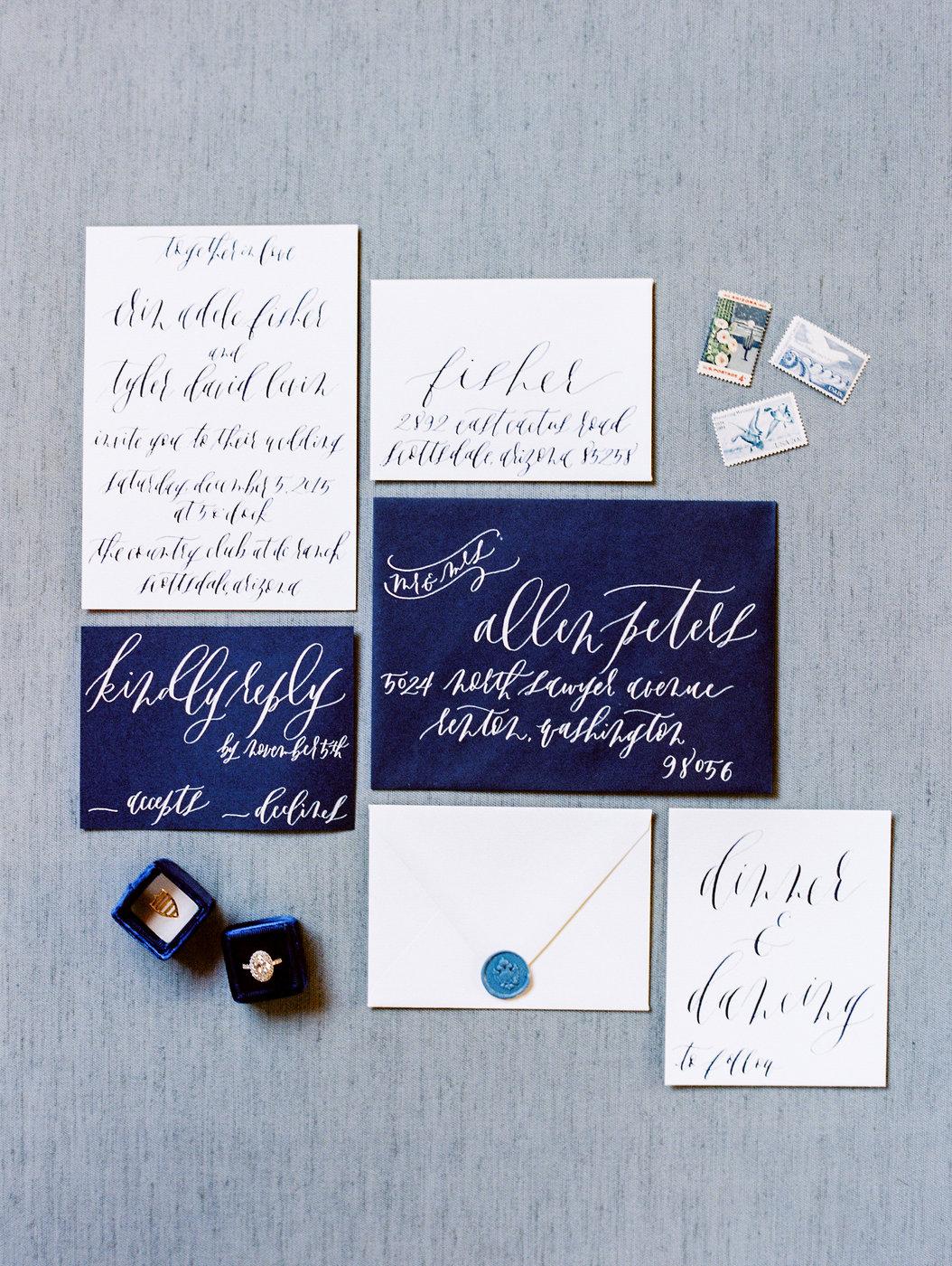 blue wedding ideas rachel solomon stationary