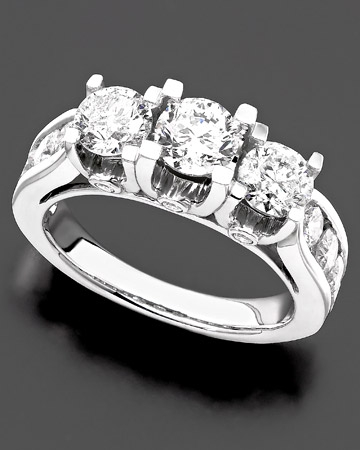 3 ct. t.w Three Stone Ring
