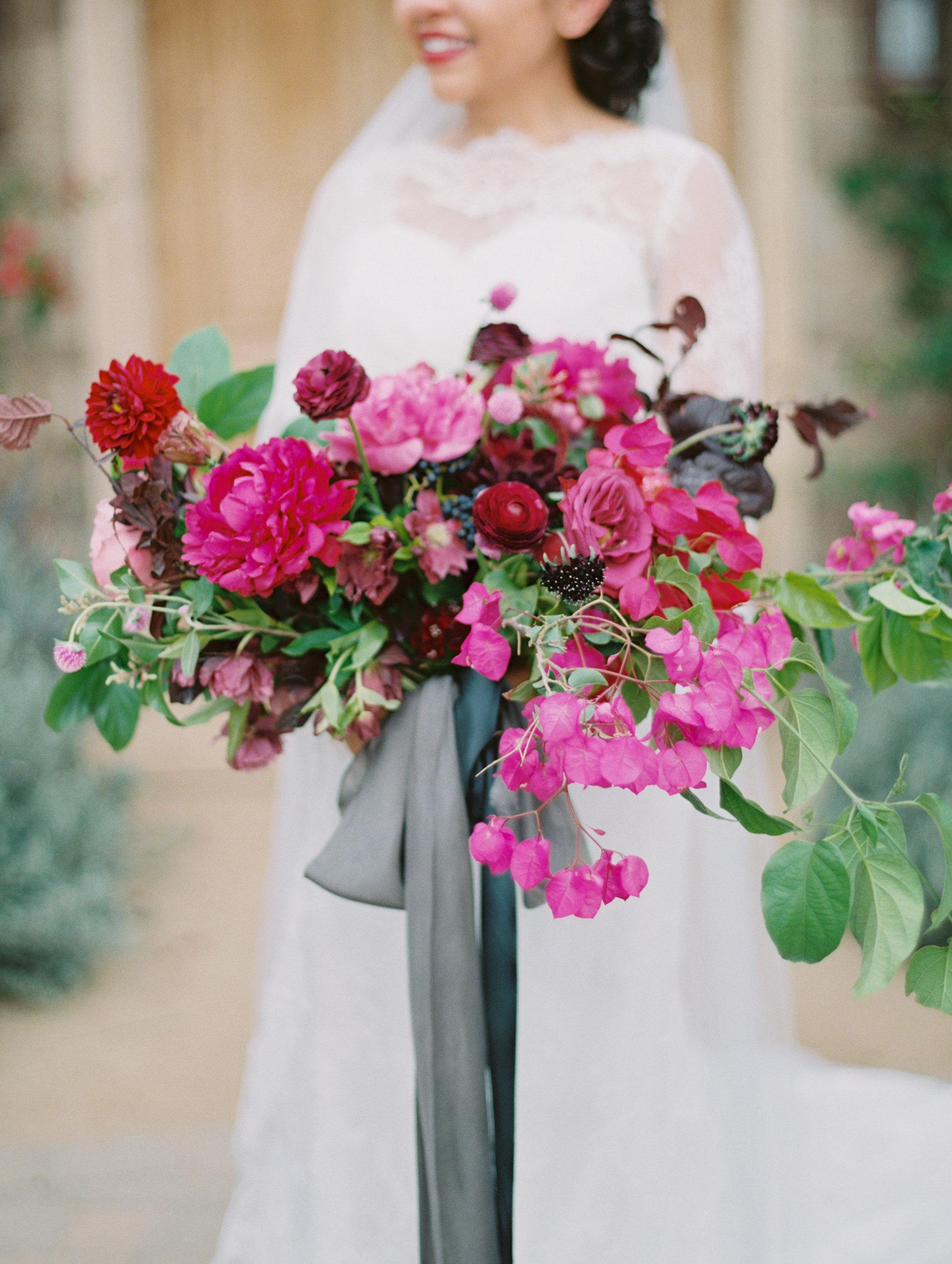 pink gray wedding bouquet