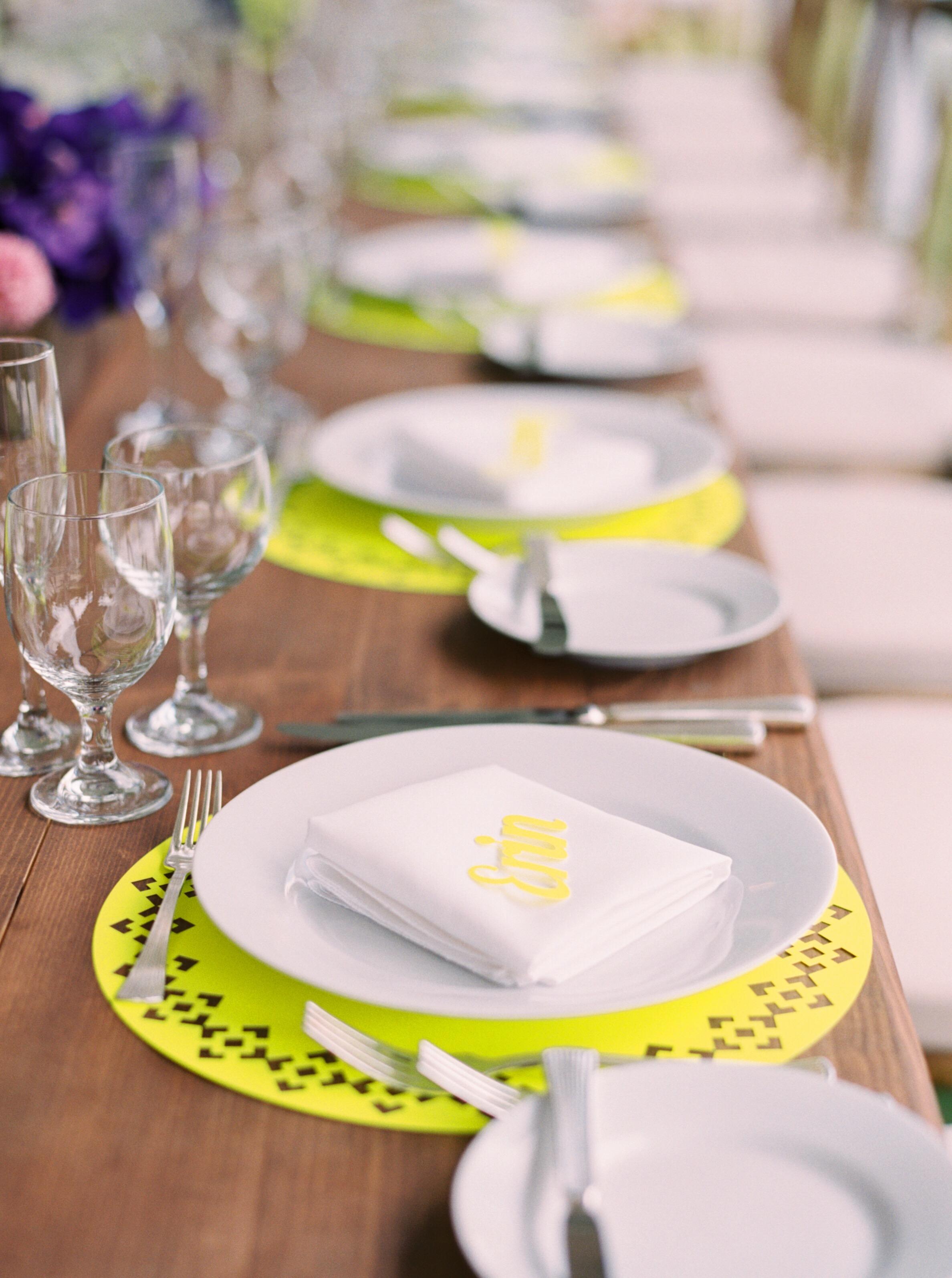 neon purple yellow reception table