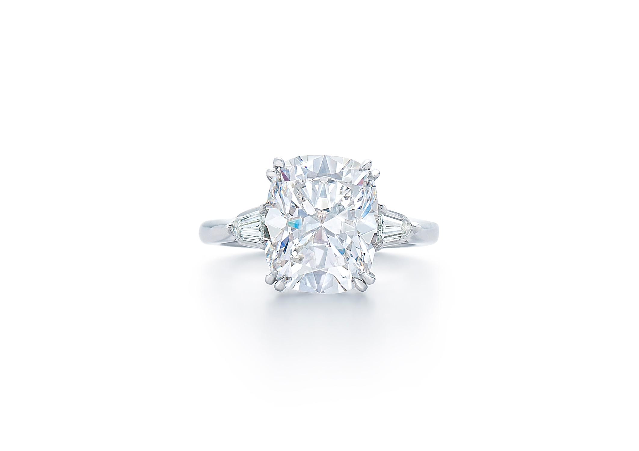 kwiat cushion cut diamond baguette diamonds on side engagement ring