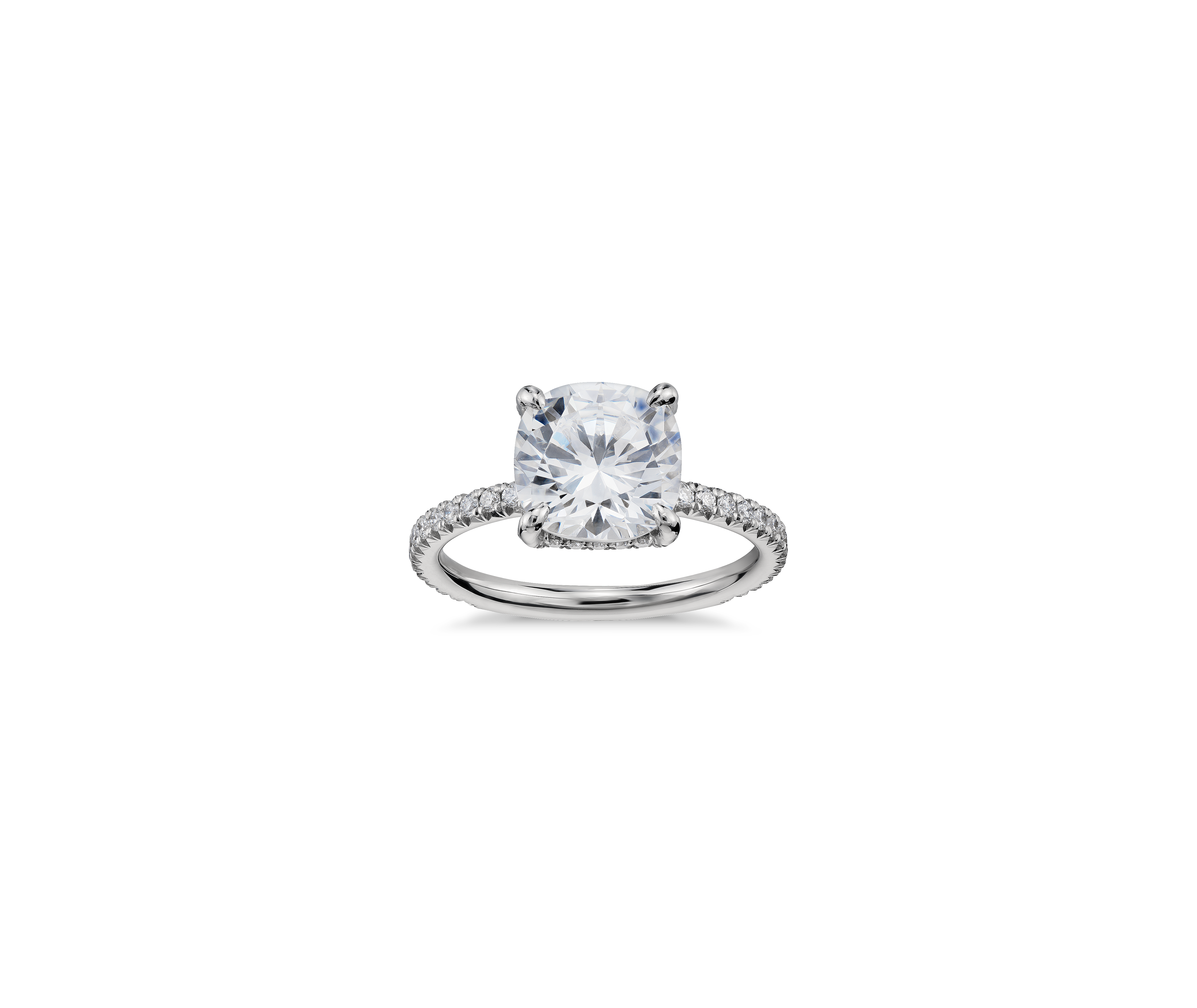 blue nile cushion cut petite french pave crown diamond platinum engagement