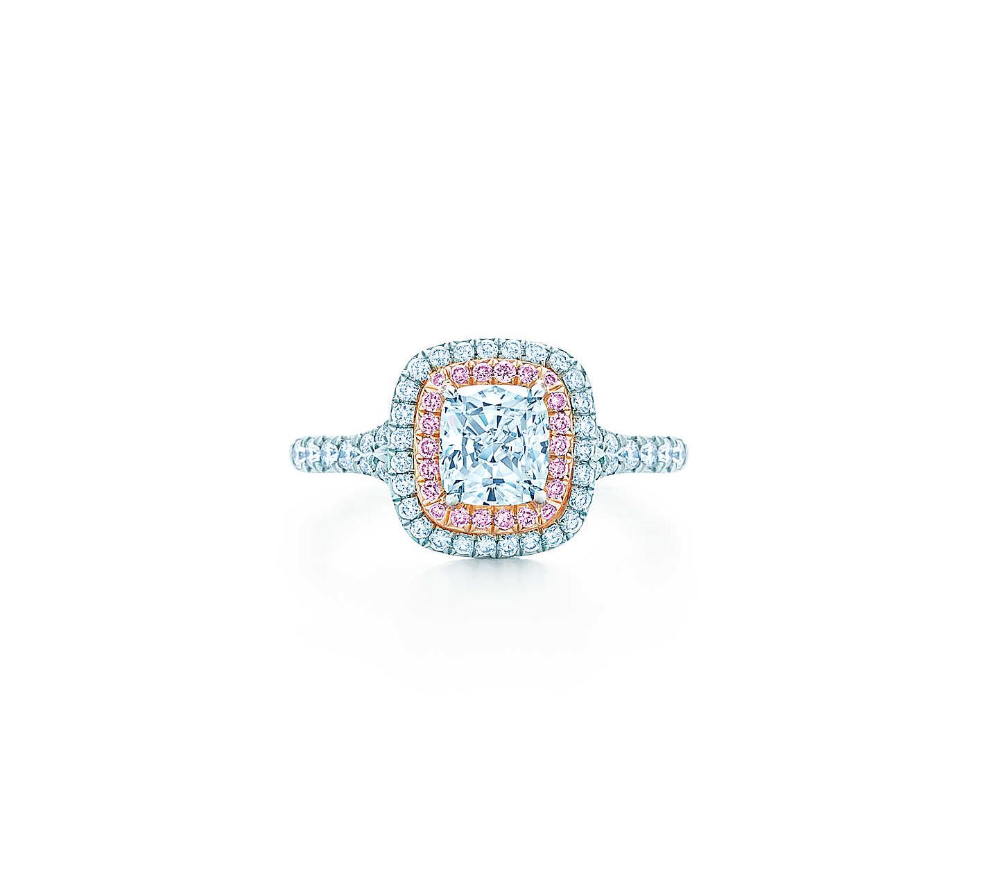 tiffany soleste cushion cut diamond pink diamond halo engagement ring