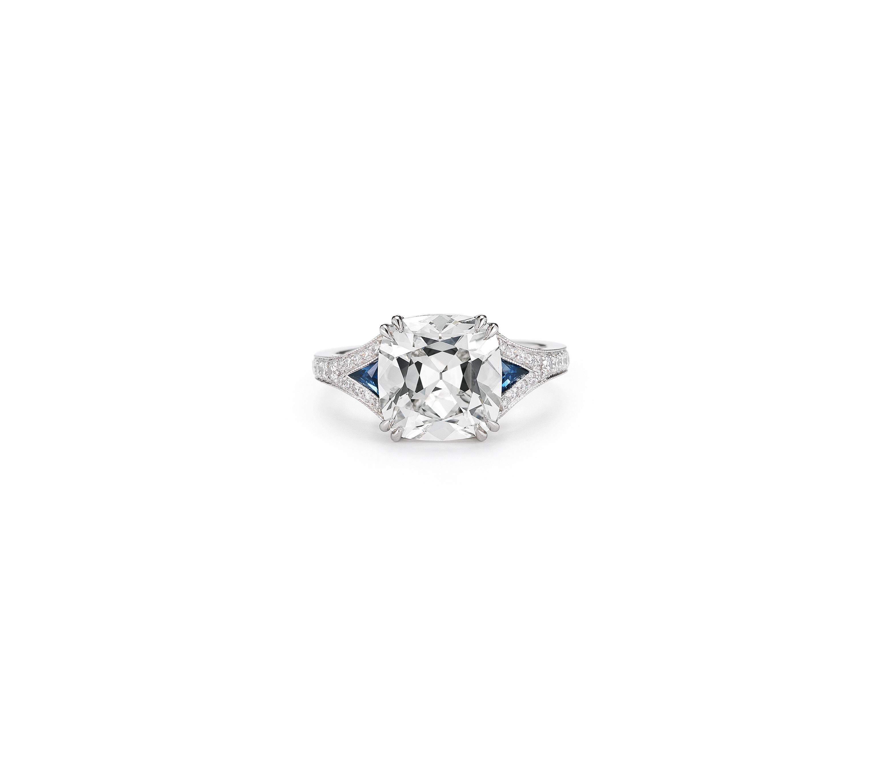 mcteigue mclelland cushion cut engagement ring with blue sapphires