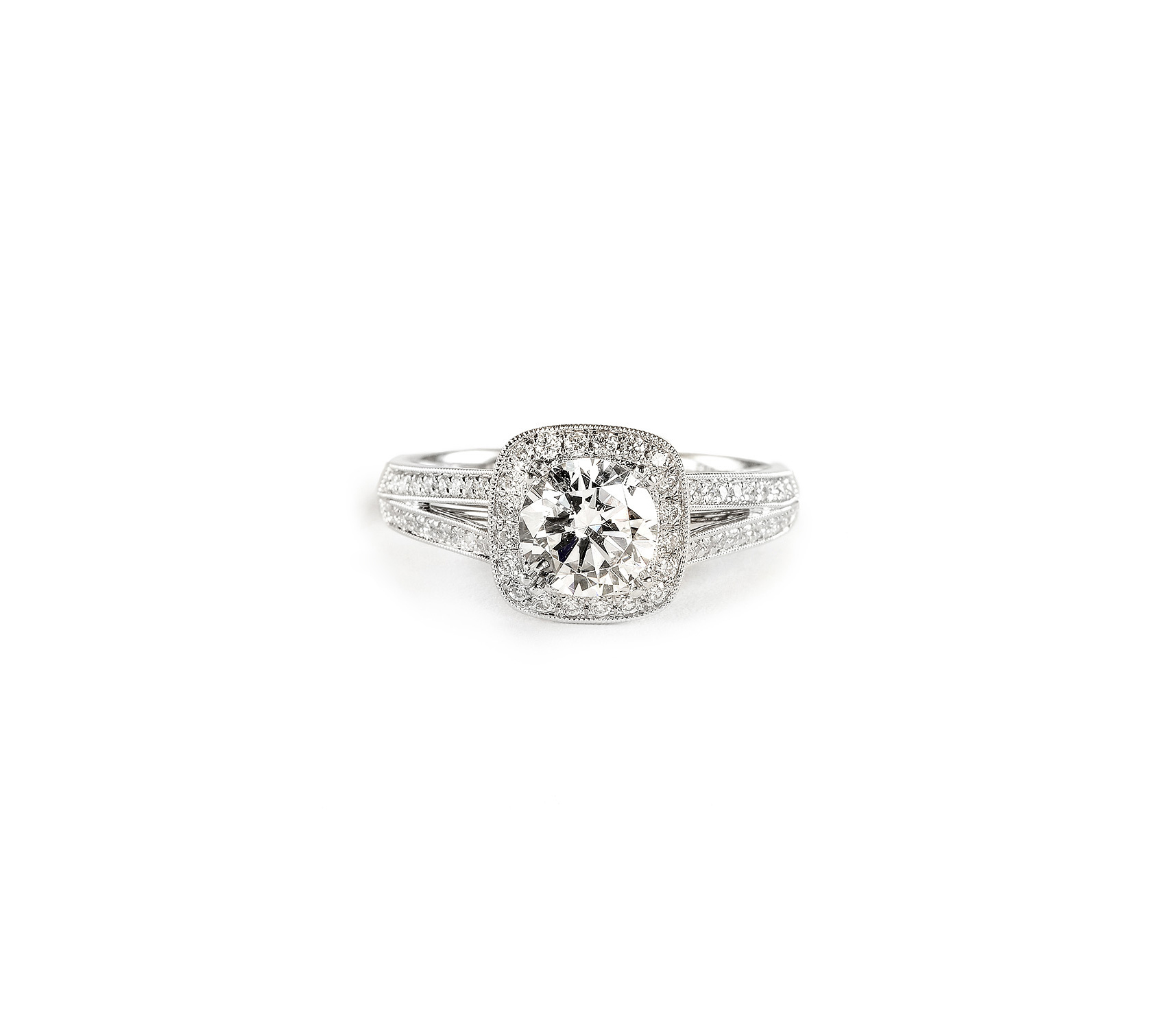 sylvie collection cushion cut diamond engagement ring with split shank