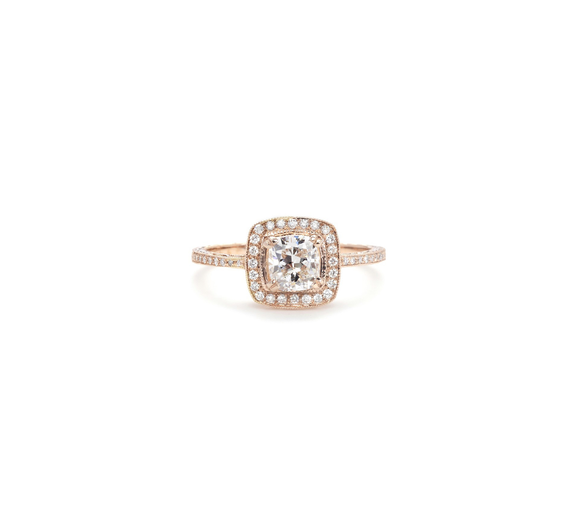 beverly k cushion cut diamond engagement ring rose gold