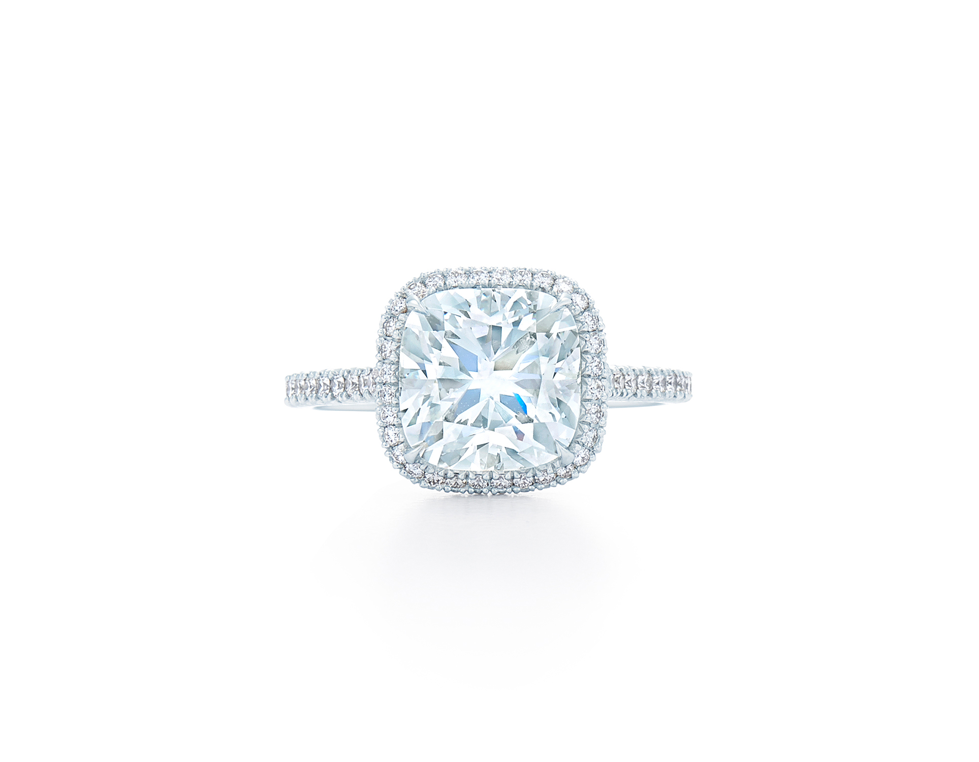 kwiat cushion cut diamond square halo pave band engagement ring