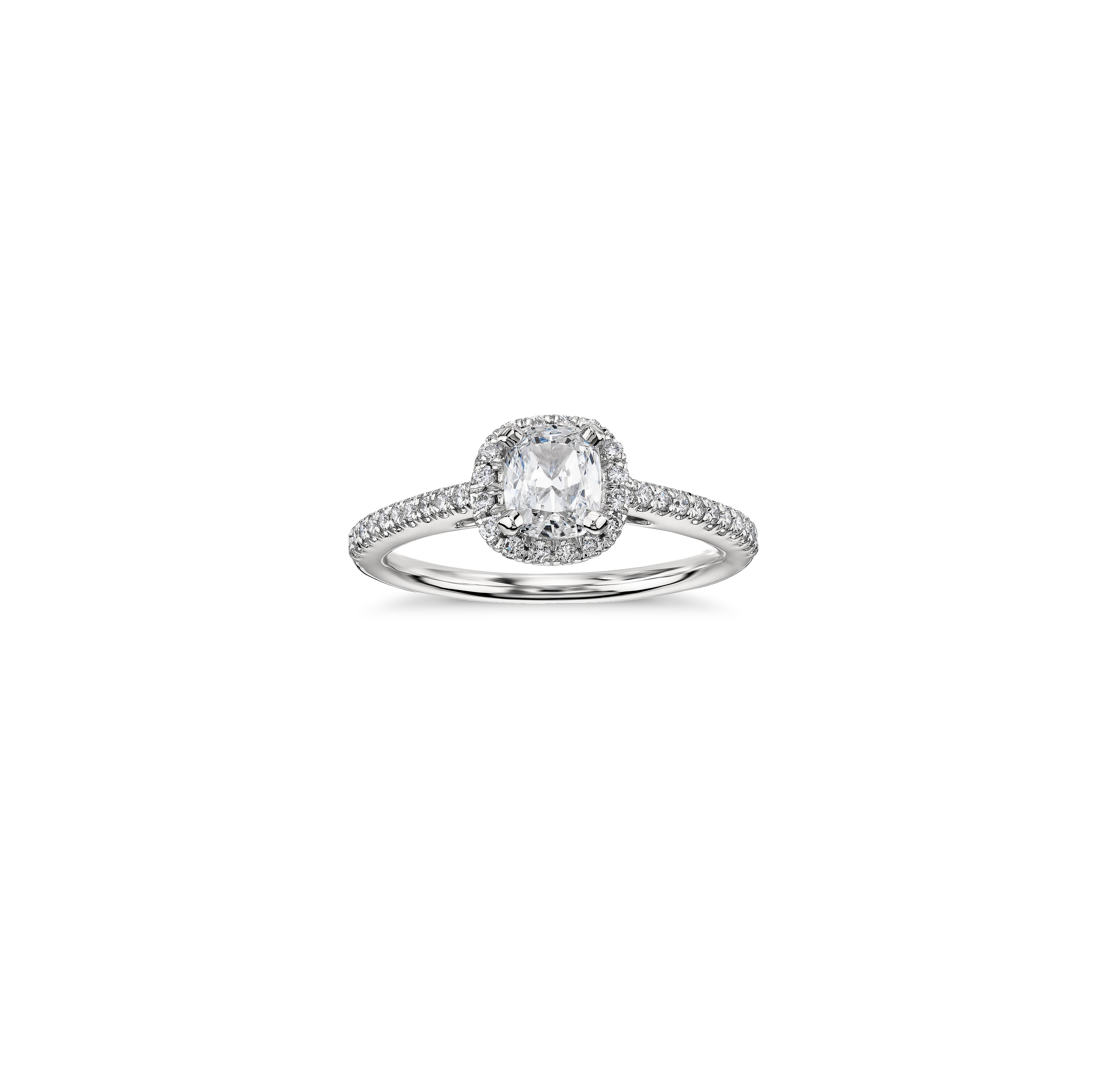 blue nile cushion cut halo diamond platinum engagement ring