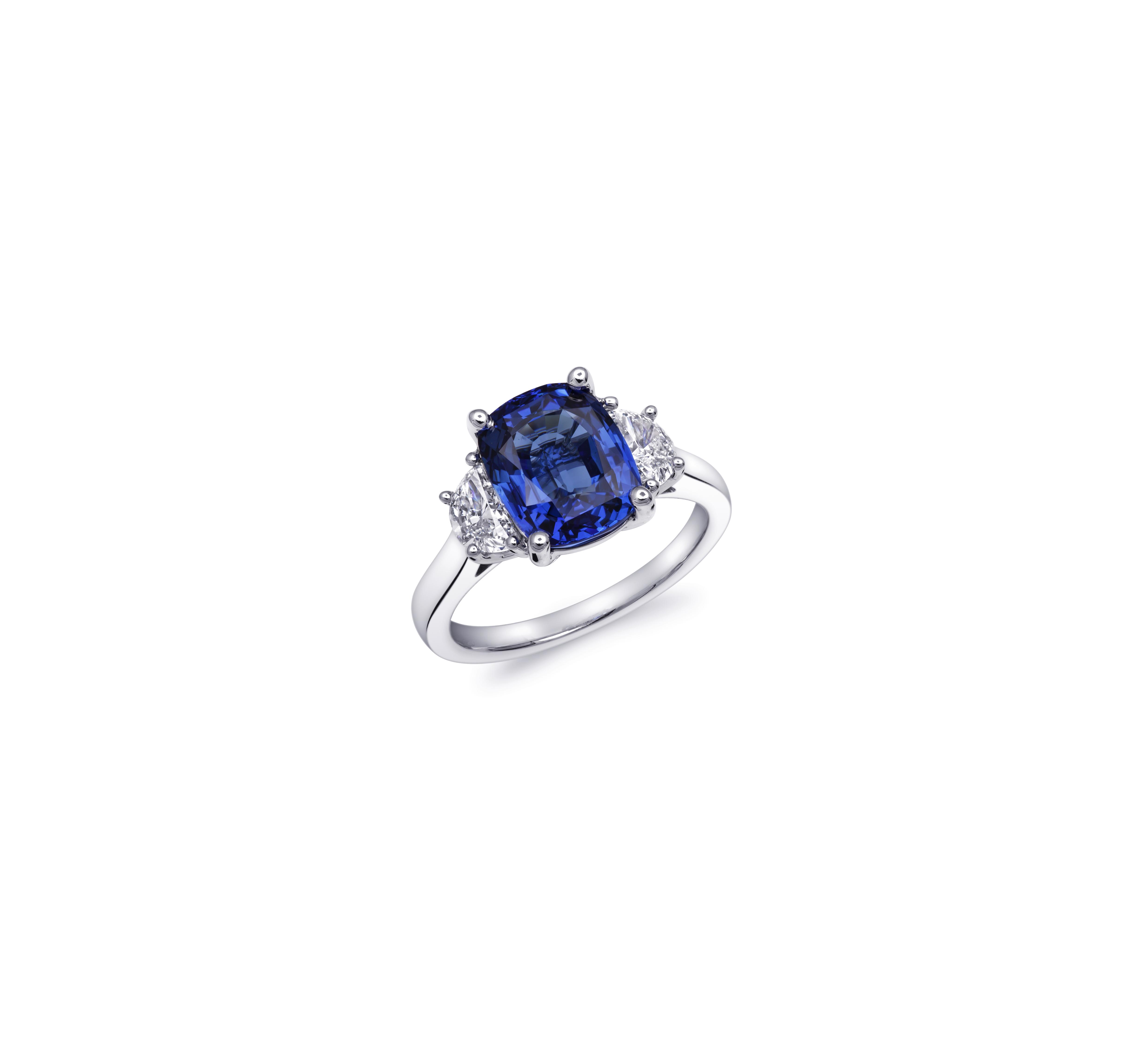 coast diamond cushion cut sapphire moon cut diamond engagement ring