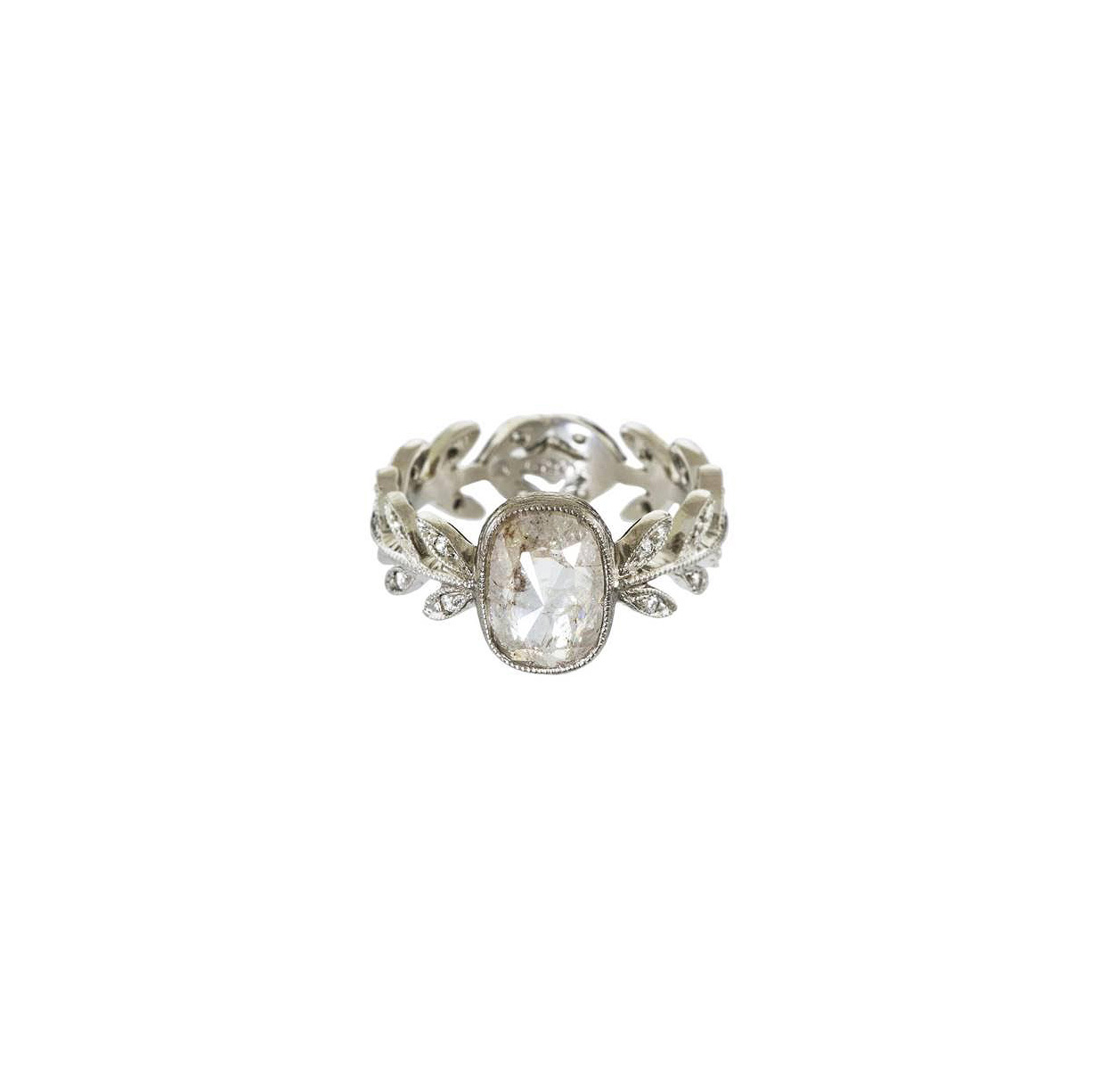cathy waterman cushion cut diamond engagement ring floral band