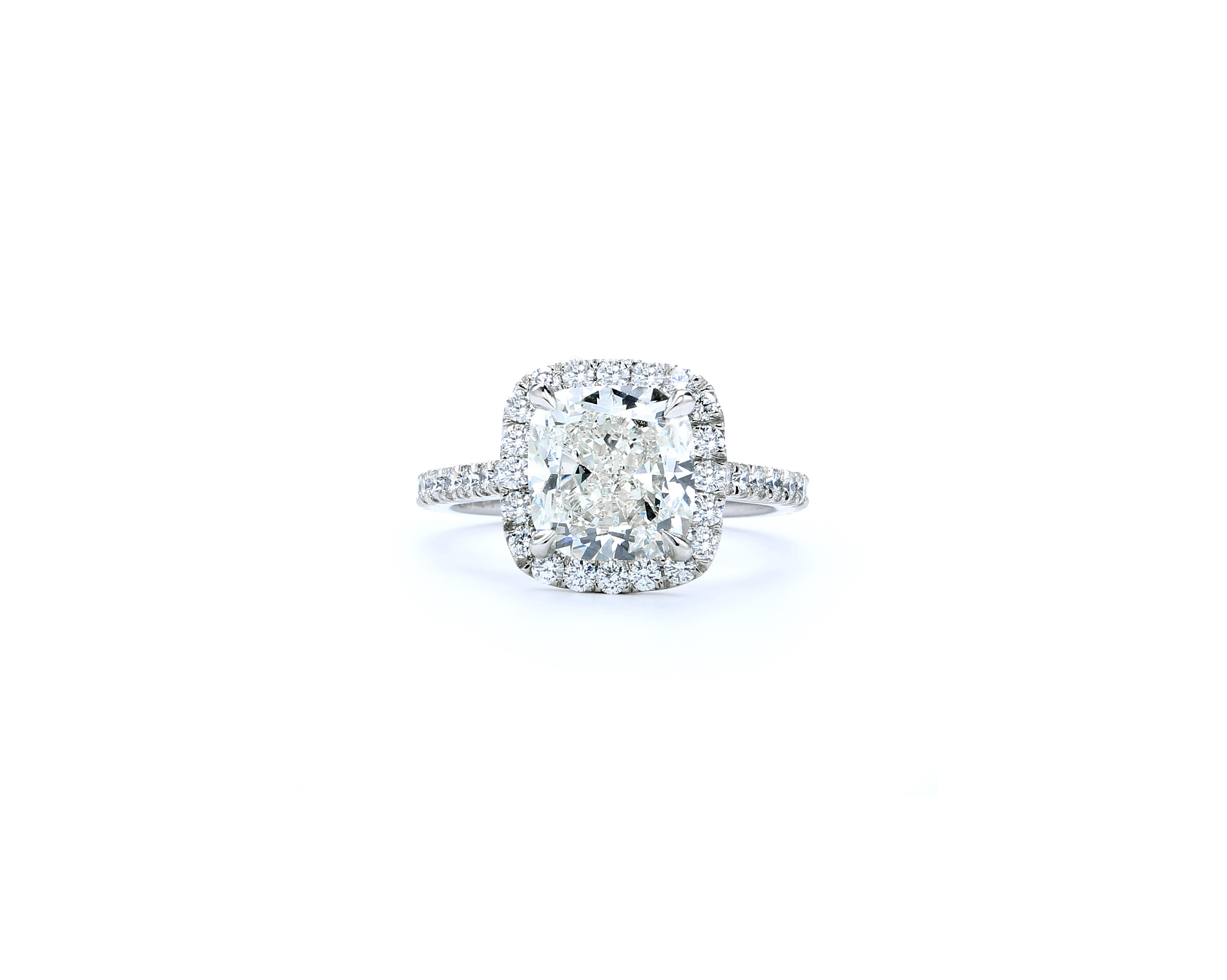 forevermark premier gem cushion cut engagement ring in white gold