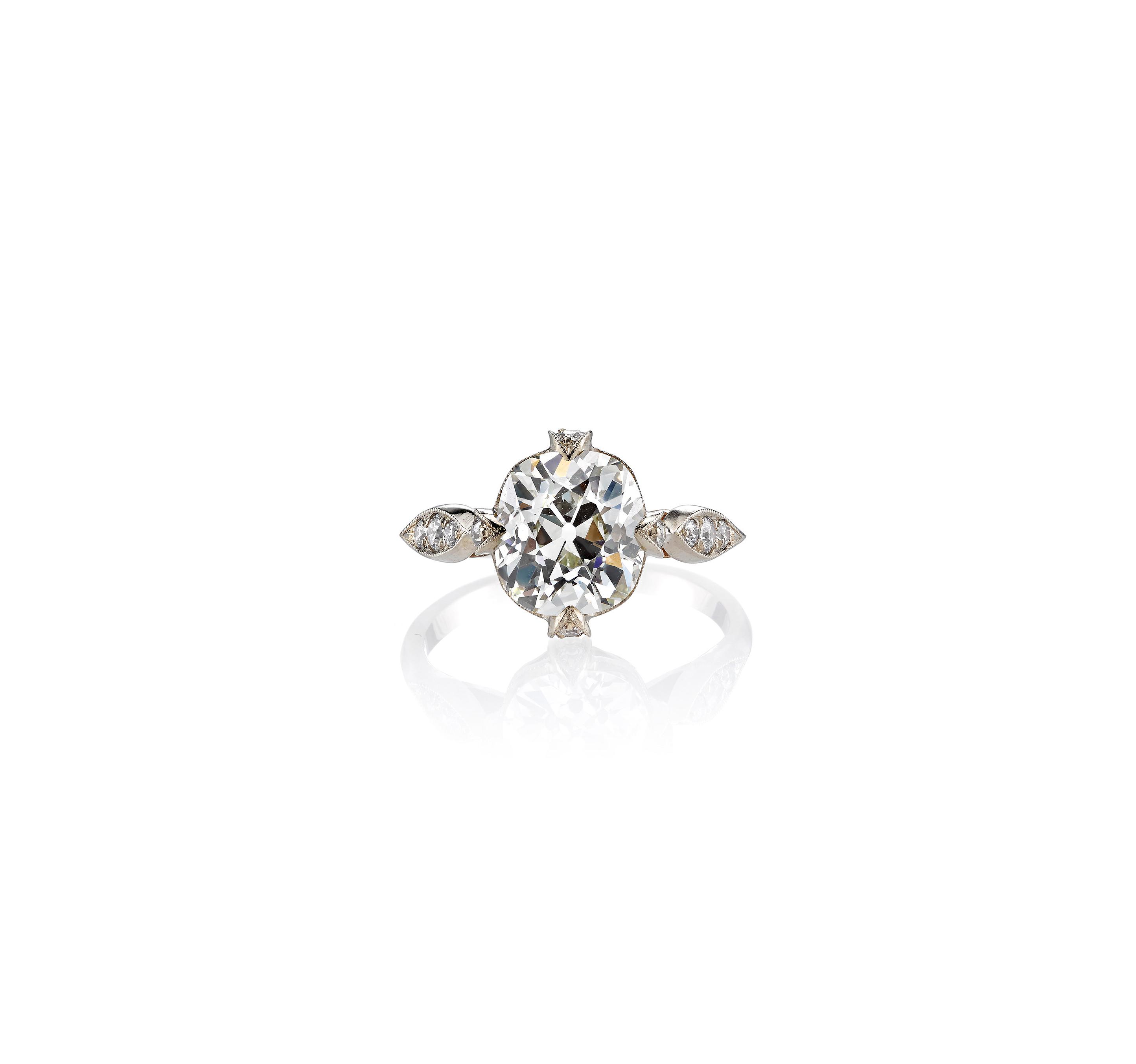 single stone cushion cut vintage engagement ring white gold
