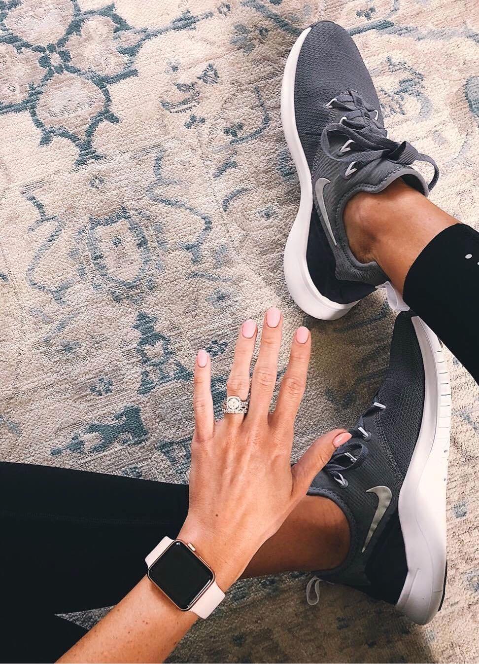 engagement ring selfie fitness attire