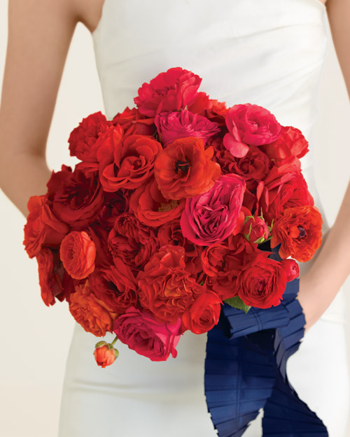 Bouquet with Red Roses and Ranunculus