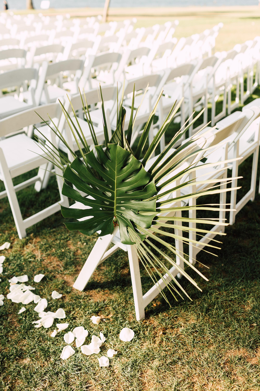 palm leaf chair decoration