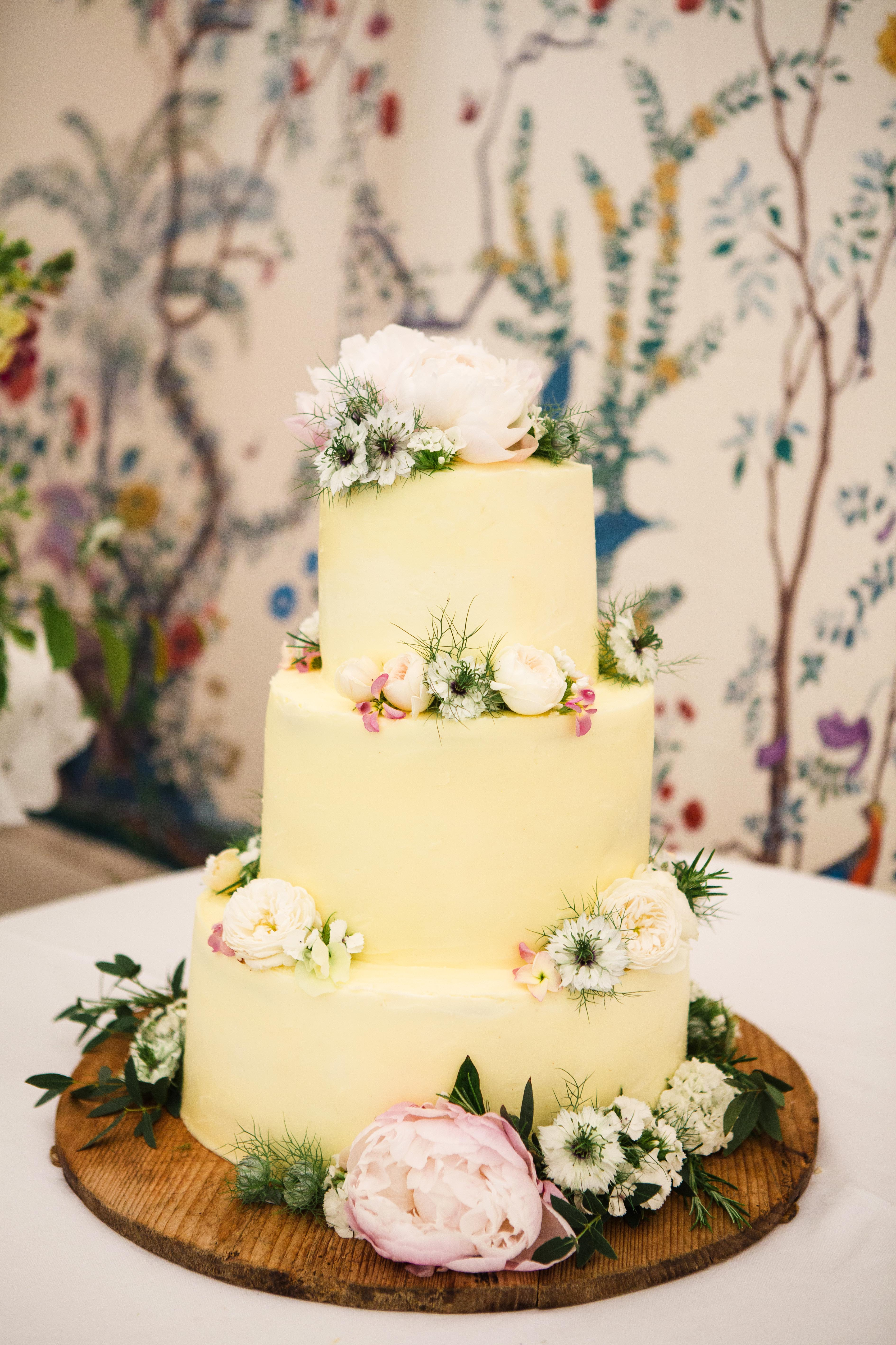 yellow cake with flowers