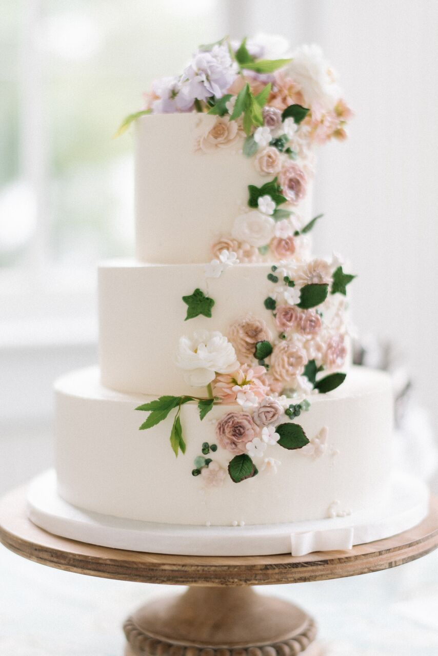 whimsical cake with flowers